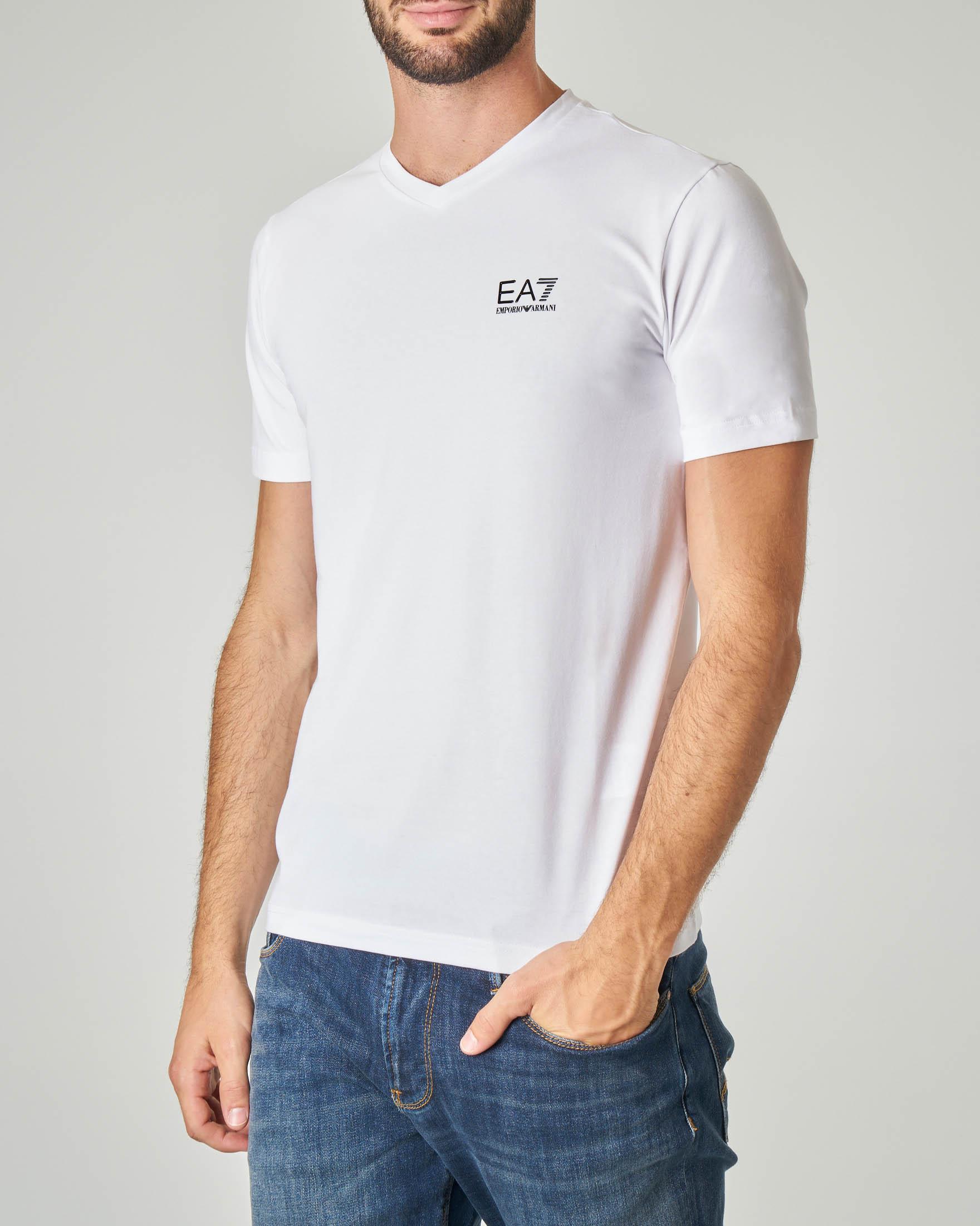 T-shirt bianca in cotone stretch con logo piccolo gommato
