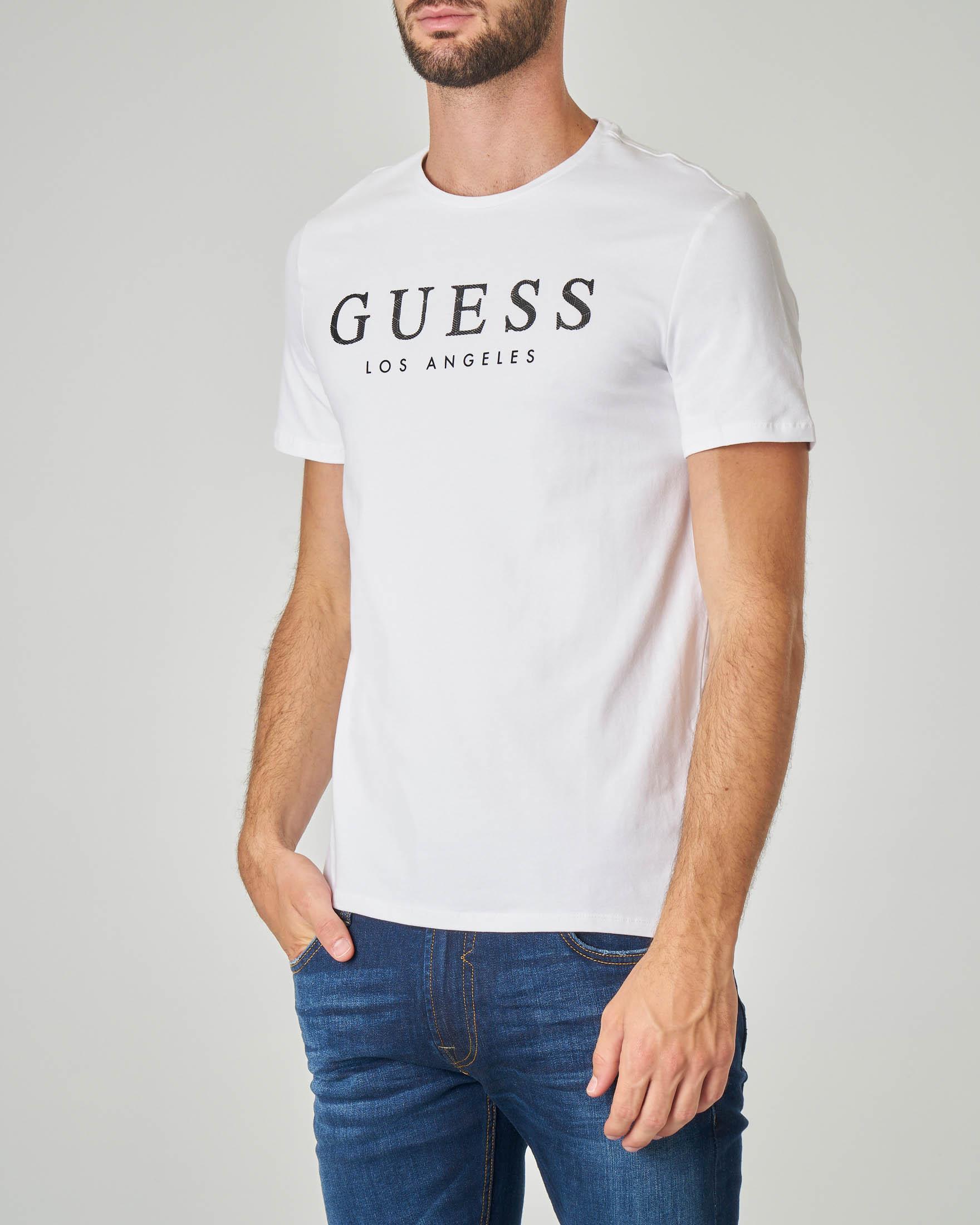 T-shirt bianca con logo gommato in cotone stretch