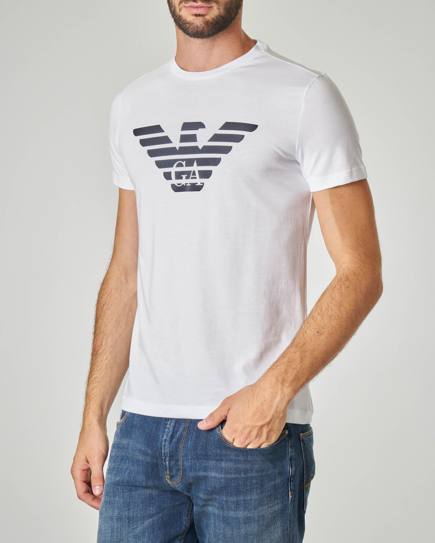 T-shirt bianca con logo aquila stampato