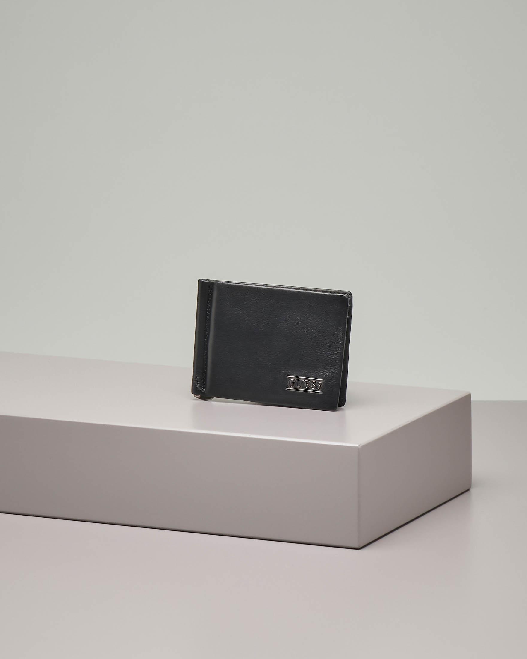 Portacarte nero in pelle con clip porta banconote