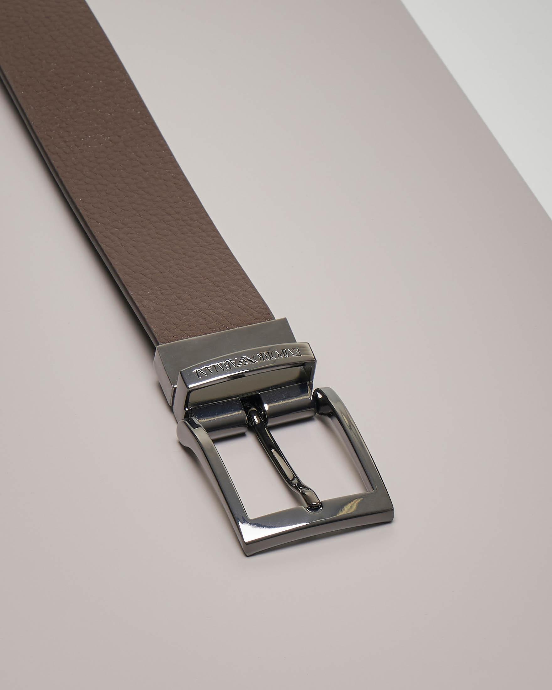 Cintura marrone in pelle martellata reversibile in pelle liscia