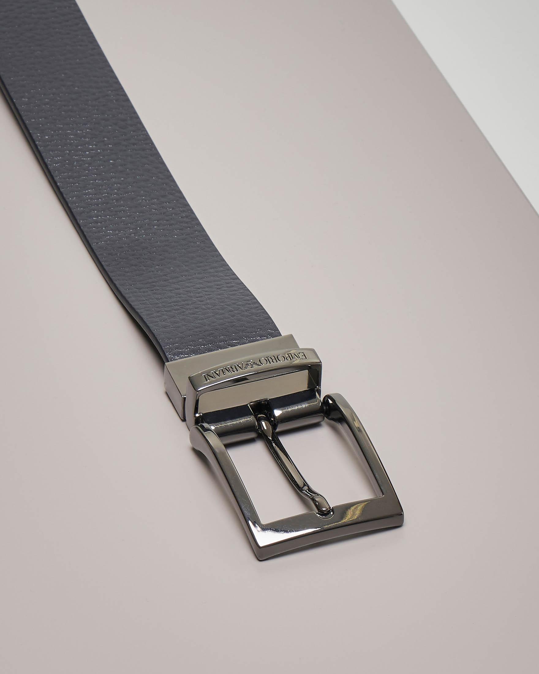 Cintura blu in pelle martellata reversibile in pelle liscia