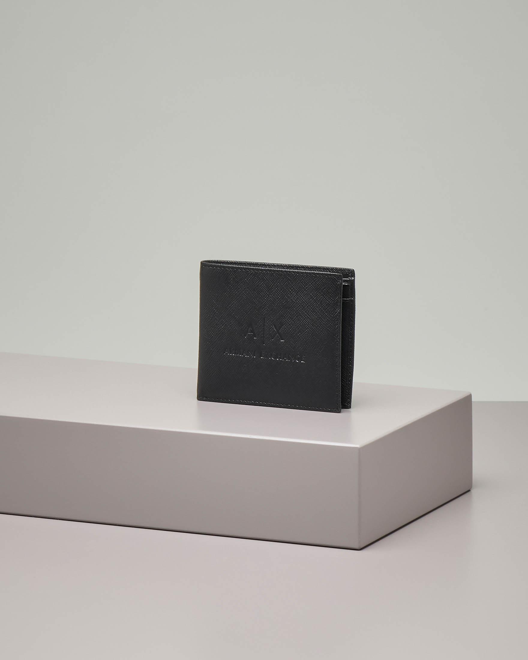 Portamonete nero in pelle saffiano