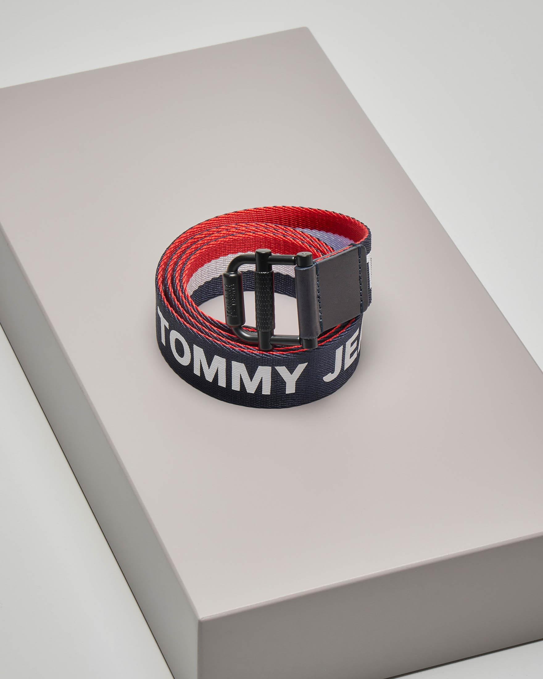 Cintura in tessuto blu reversibile con logo Tommy Jeans ripetuto