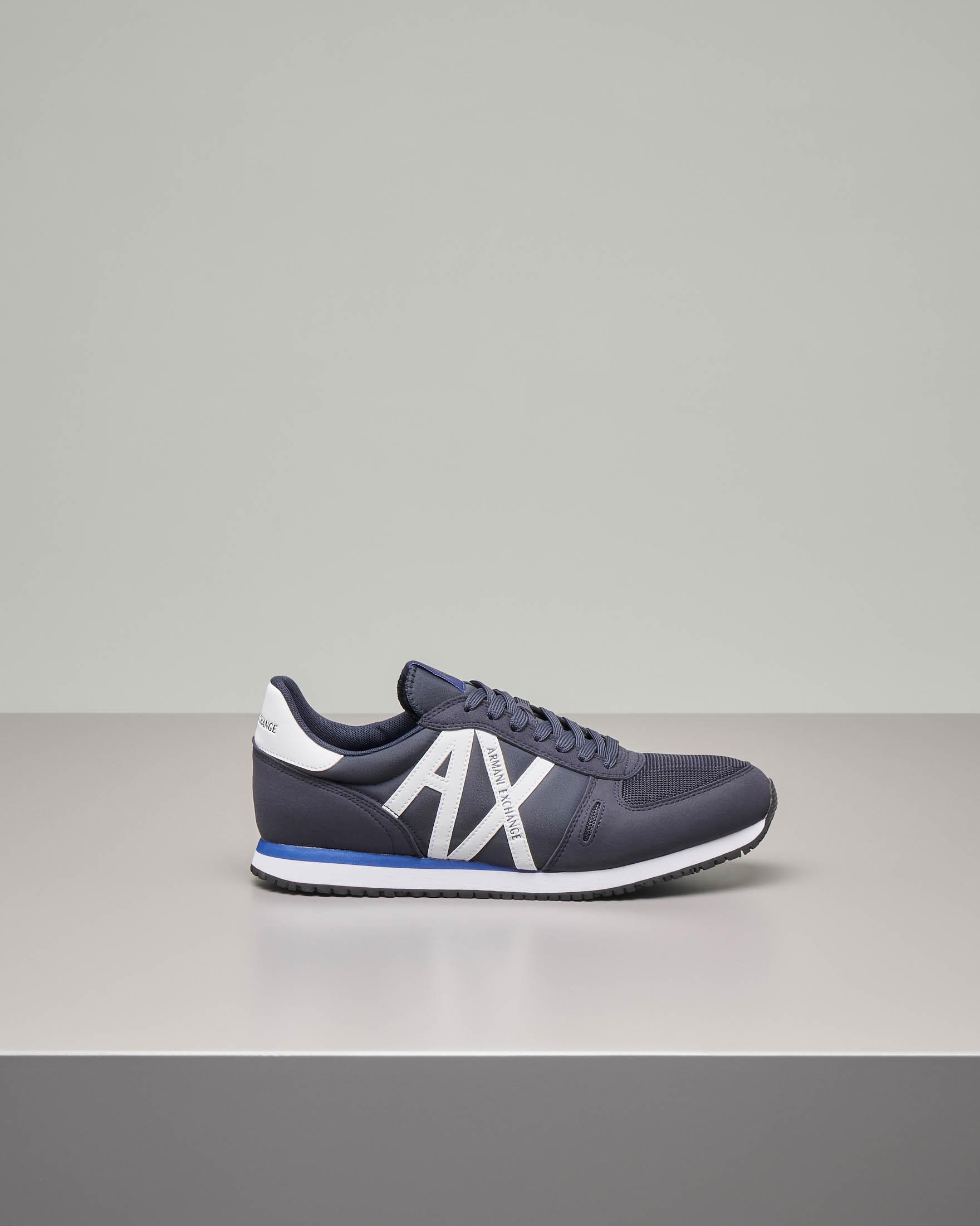 Sneakers blu con logo AX bianco