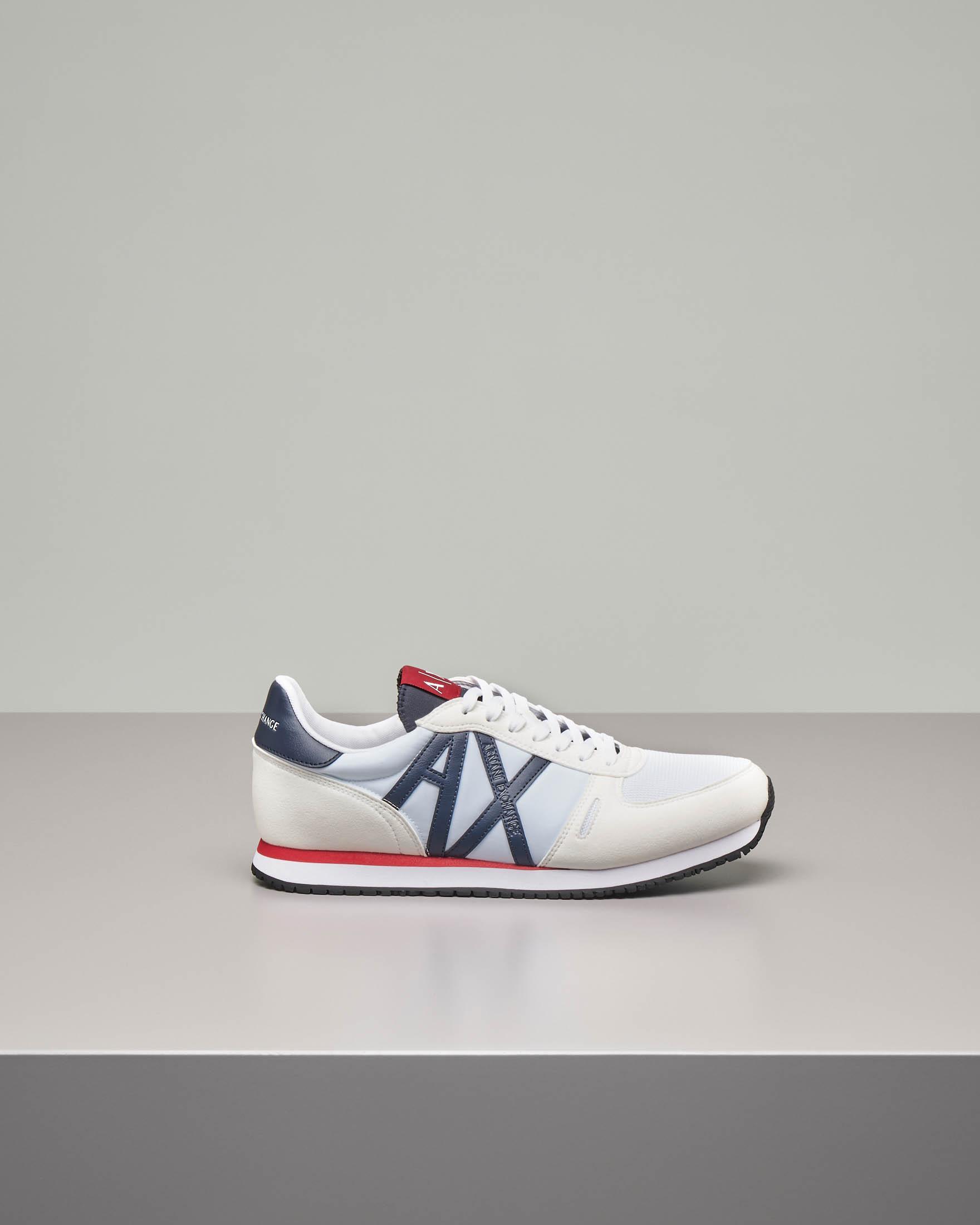 Sneakers bianche con logo AX blu