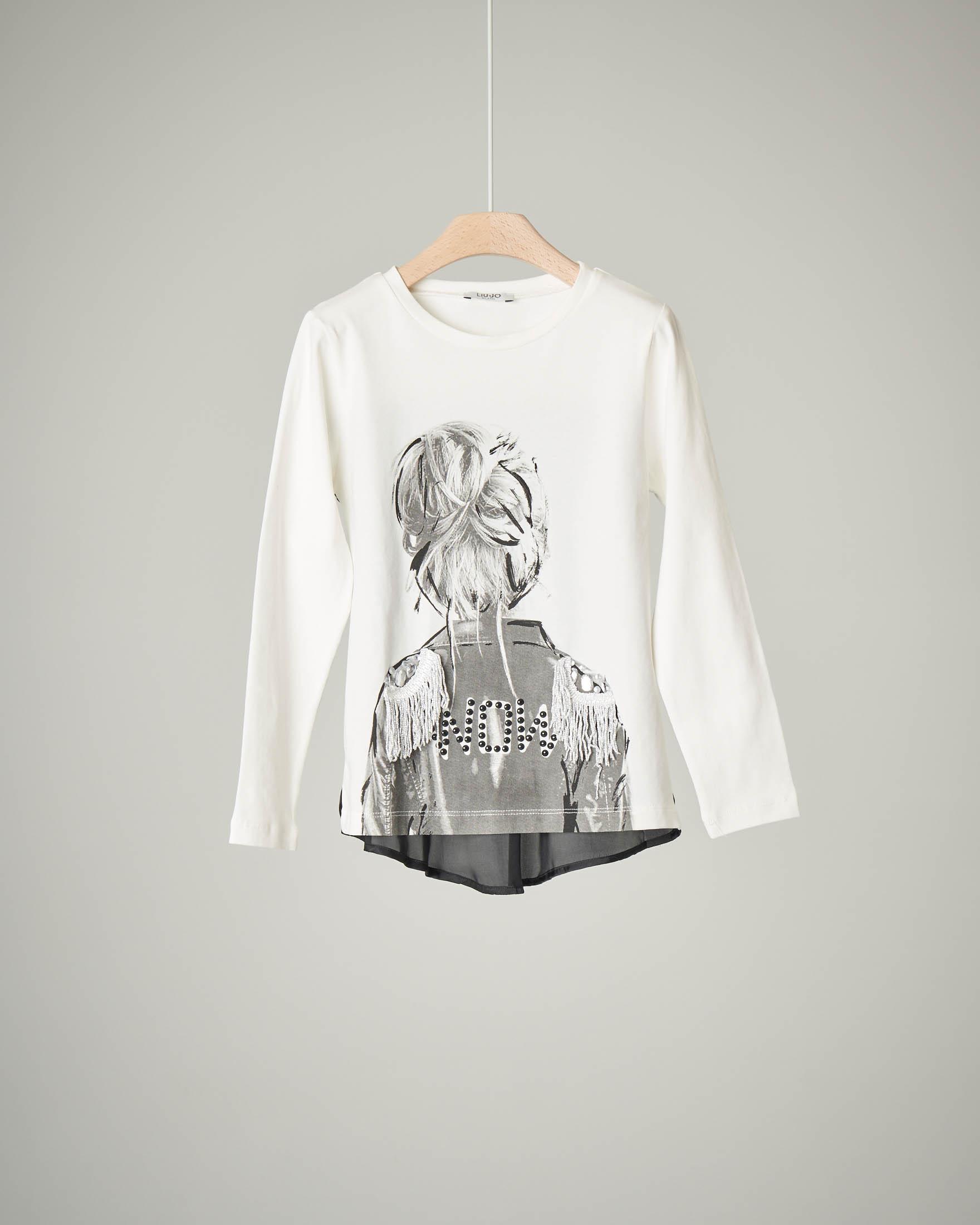 T-shirt bianca stampa ragazza 10-14 anni