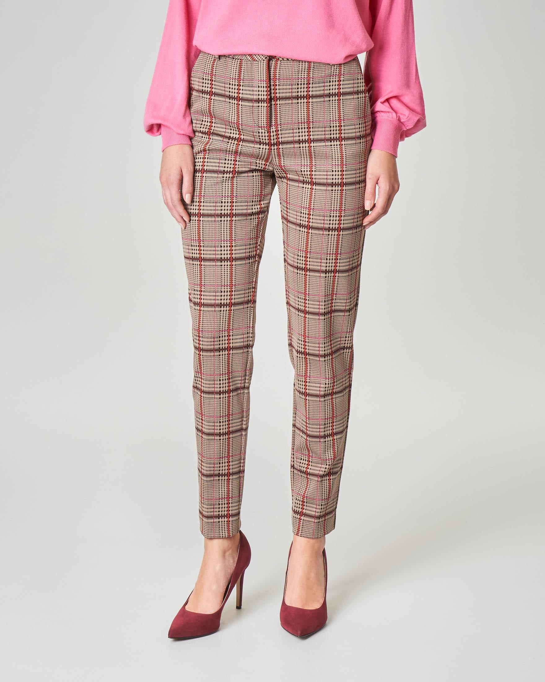 Pantaloni dritti cammello a fantasia principe di Galles multicolor
