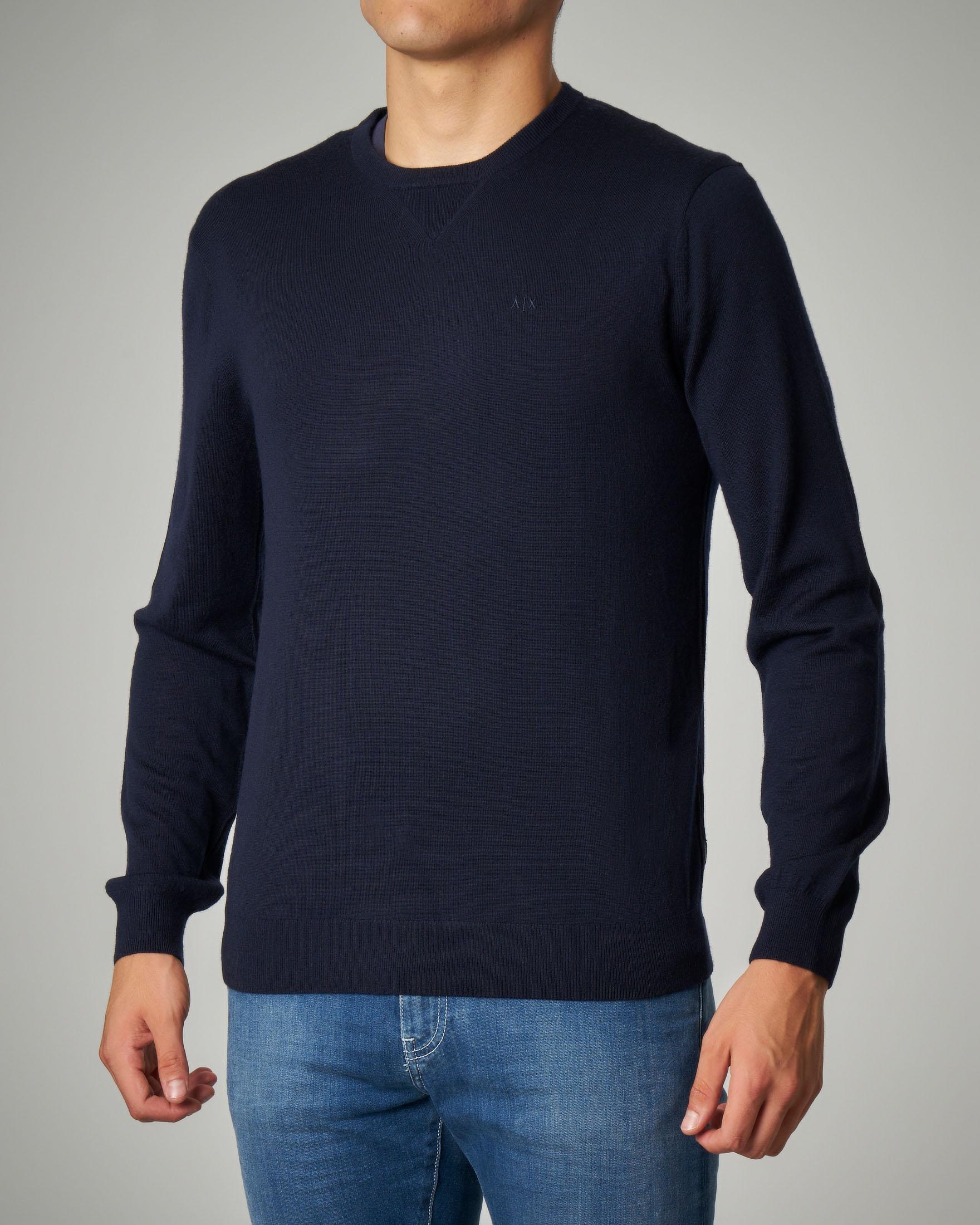 Maglia blu in lana con logo