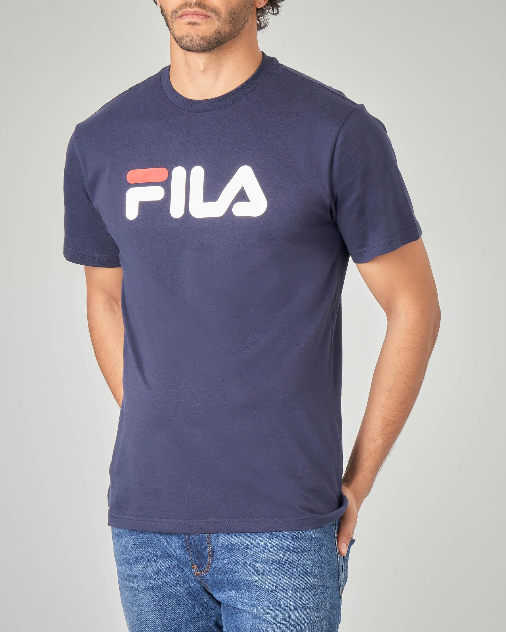 T-shirt blu con logo Fila