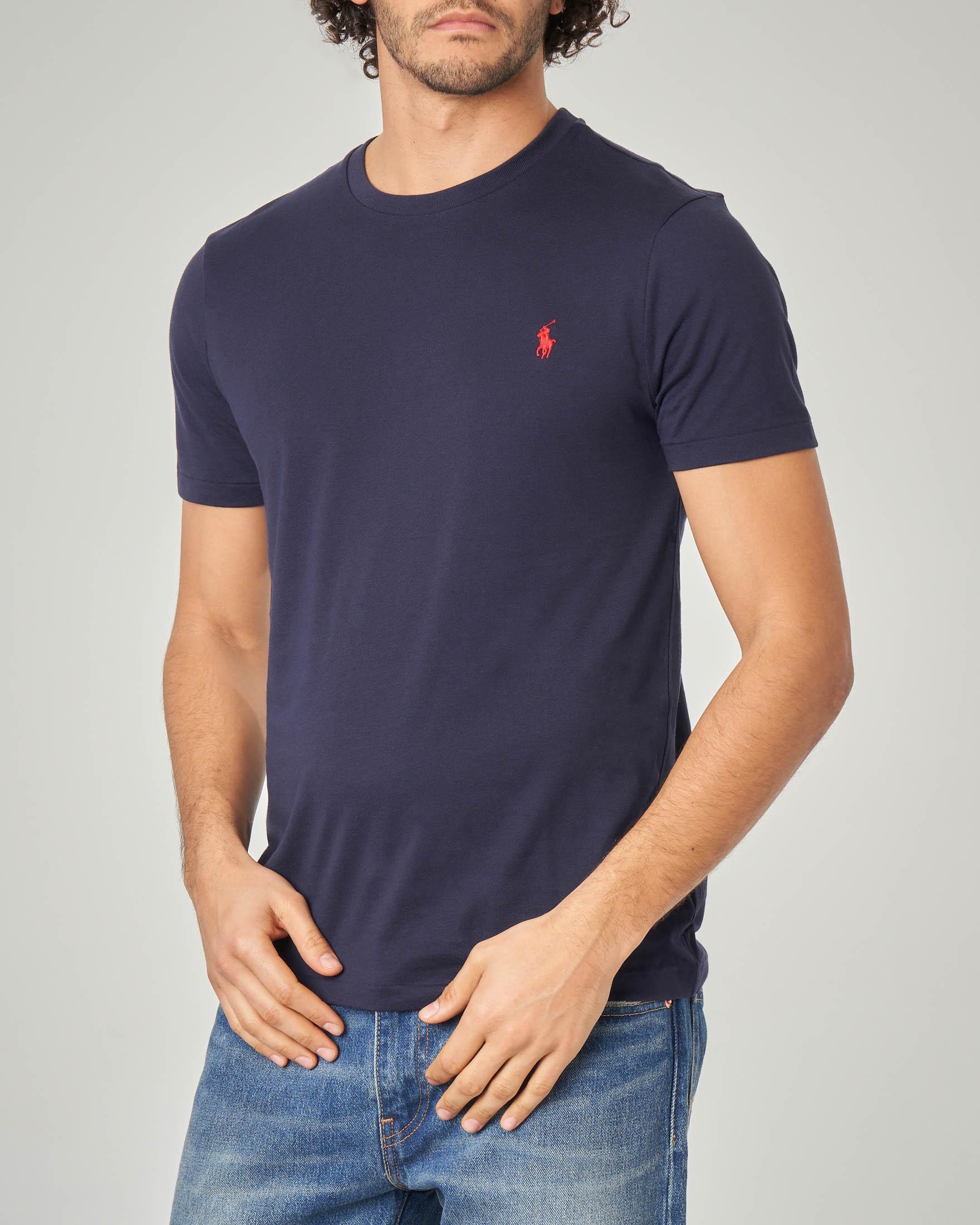 T-shirt blu con logo rosso