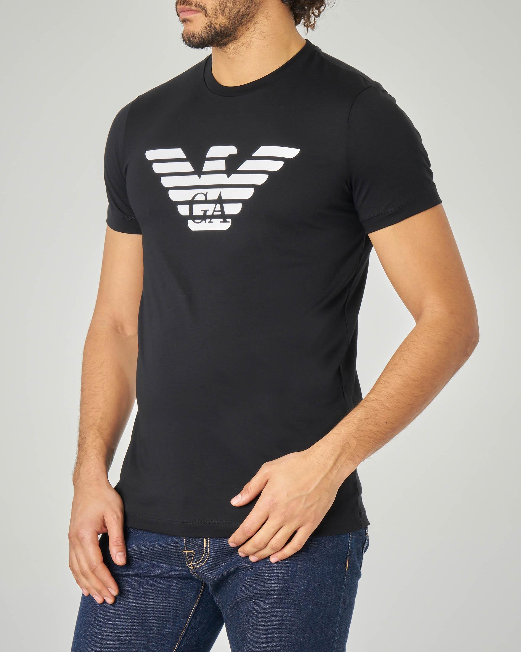 T-shirt nera in pima cotton con aquila stampata
