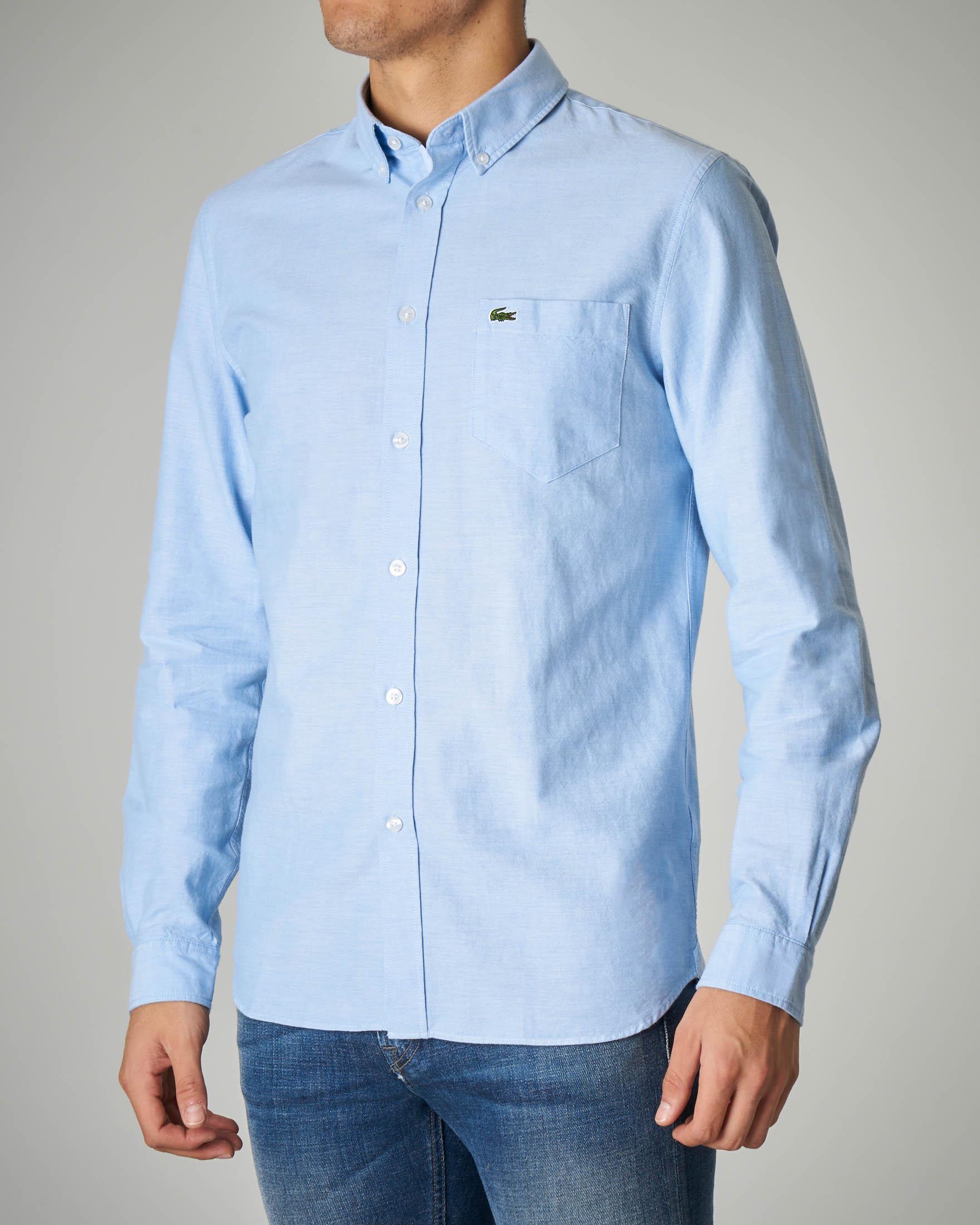 Camicia azzurra in Oxford button down con taschino
