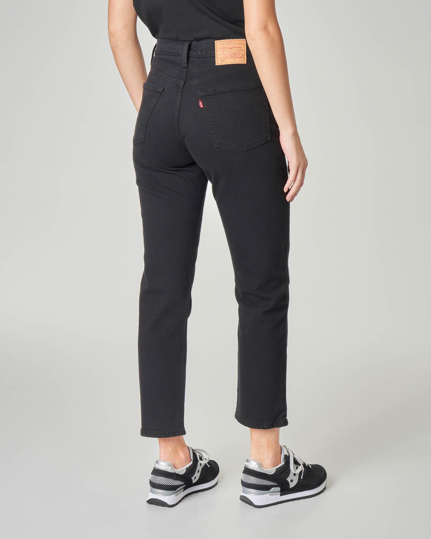 Jeans neri cropped a vita alta