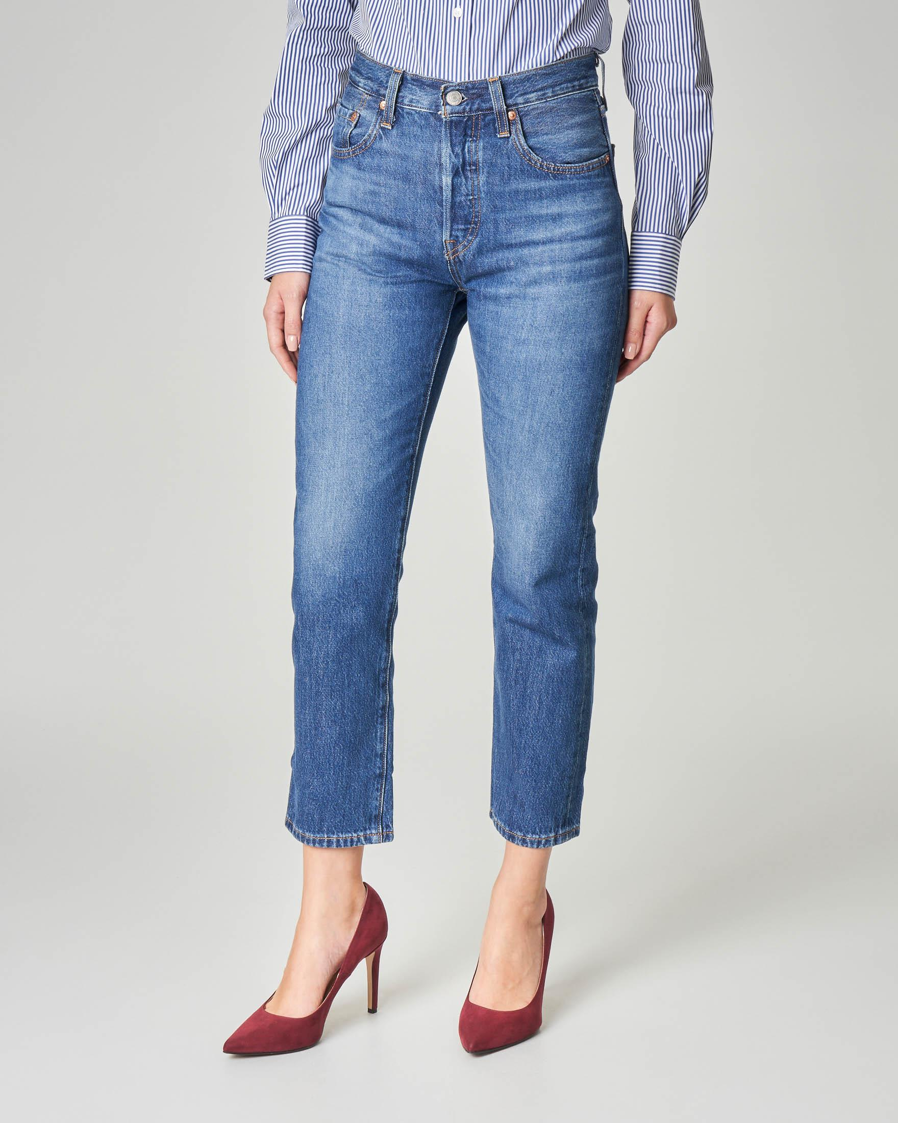Jeans blu stone washed cropped a vita alta