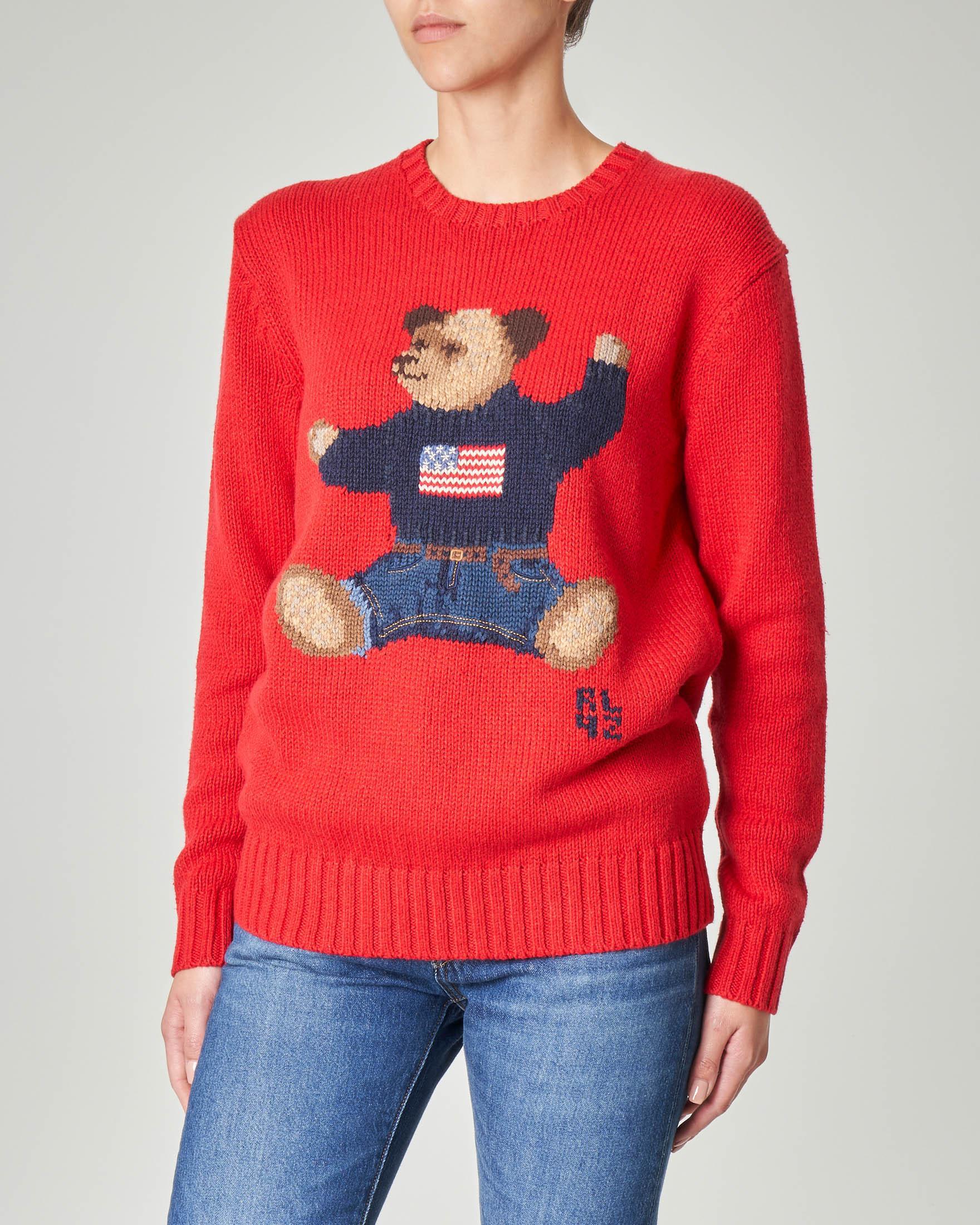 Maglione rosso in cotone misto lino con orso ricamato jacquard