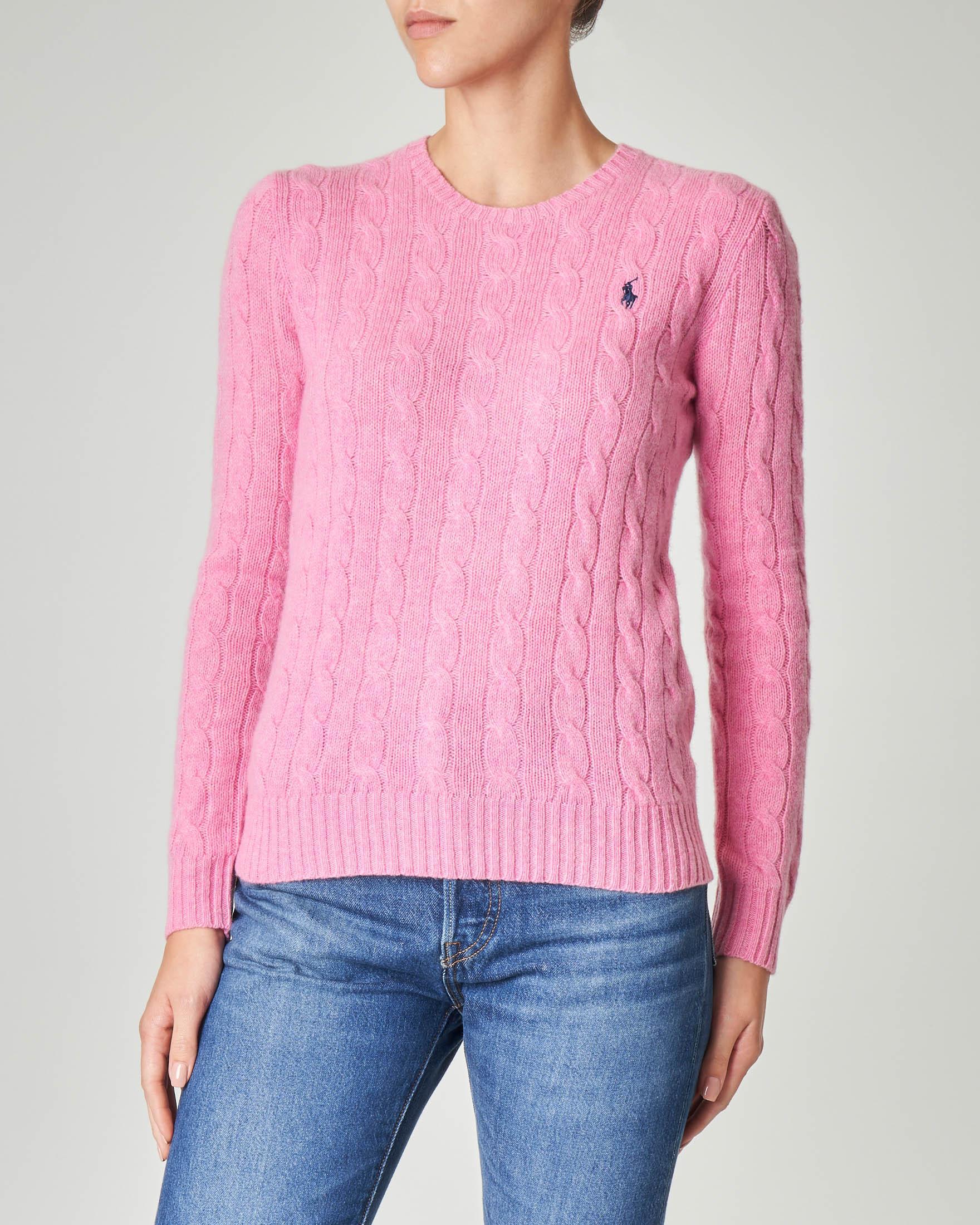 Maglia rosa in lana misto cashmere a trecce