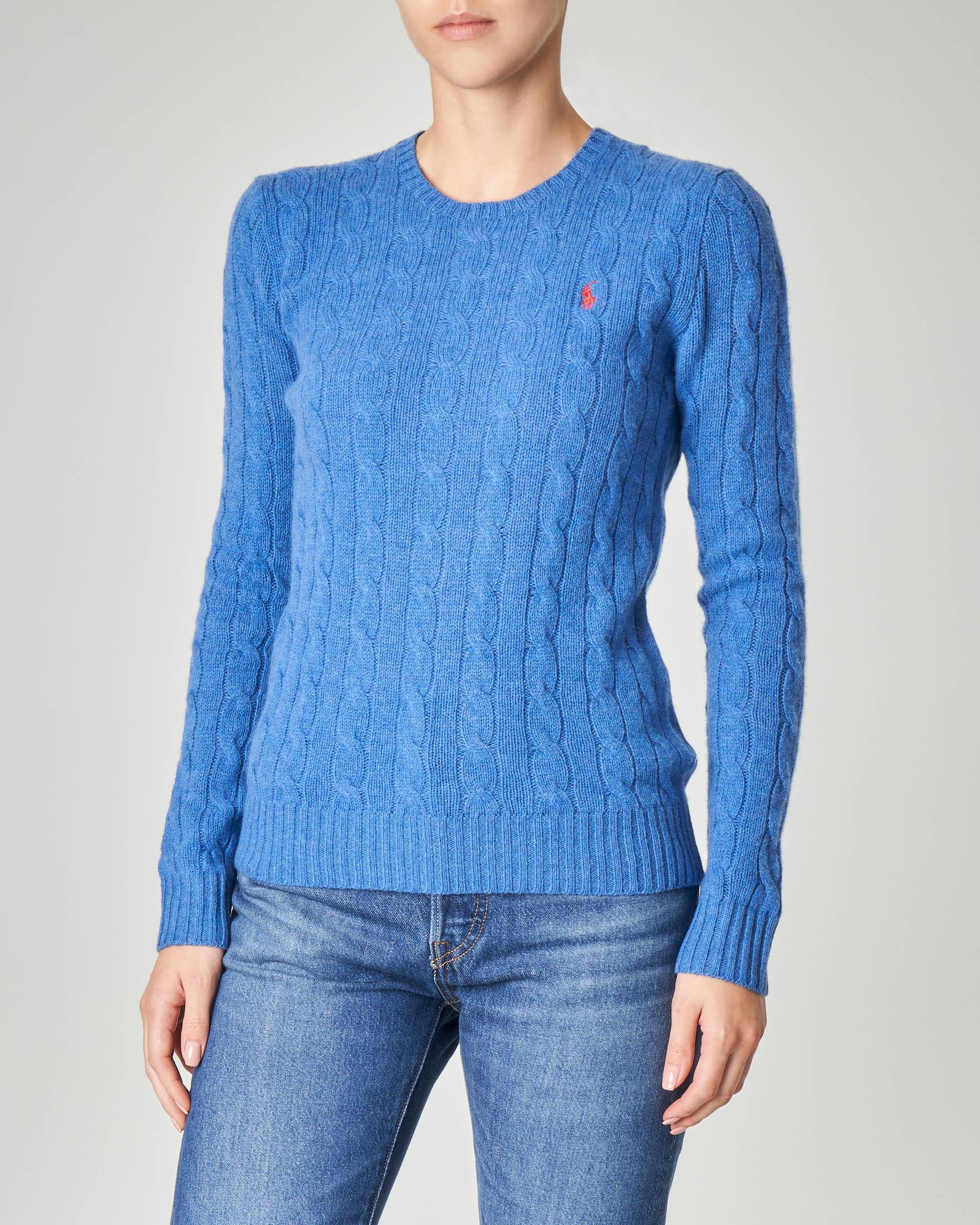 Maglia in lana misto cashmere a trecce color bluette