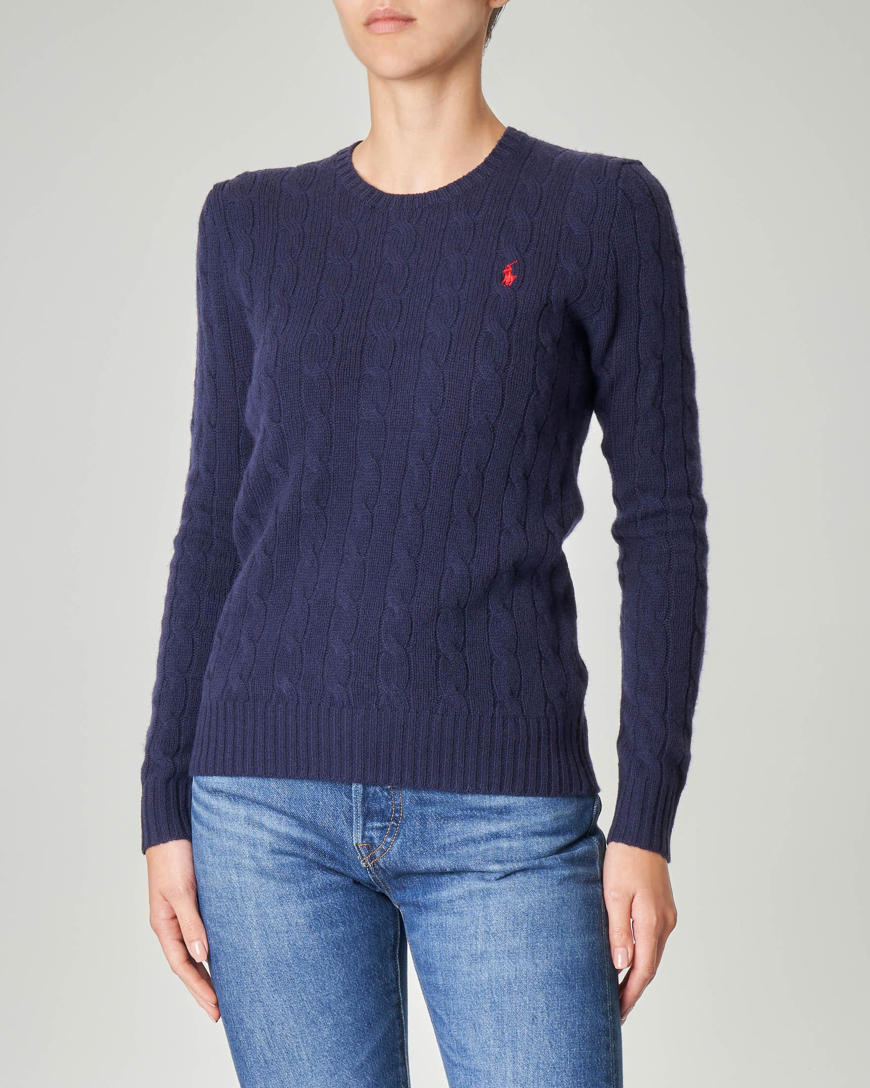 Maglia in lana misto cashmere a trecce colore blu