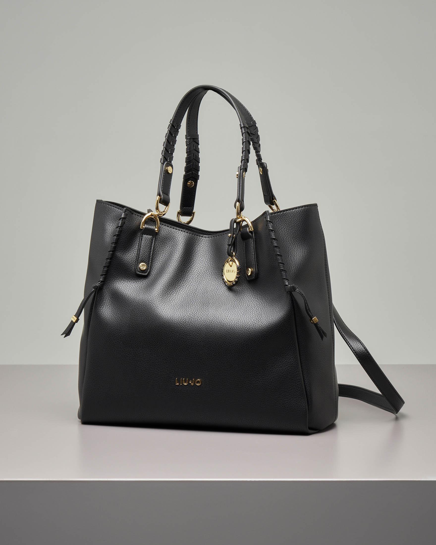 Shopping bag misura grande in eco pelle effetto martellato con dettagli intrecciati