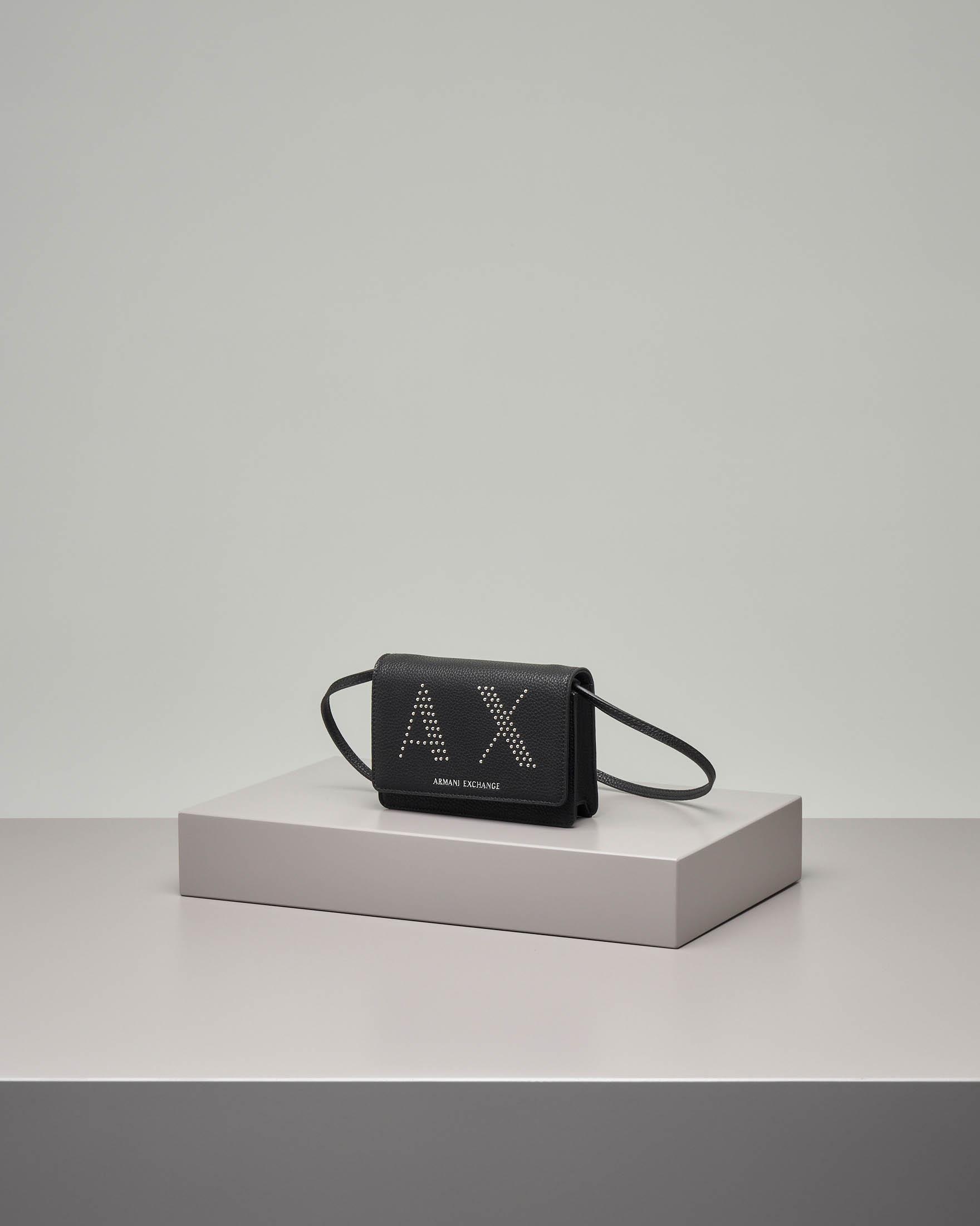 Mini bag a tracolla in ecopelle nera con scritta logo in micro borchie applicate