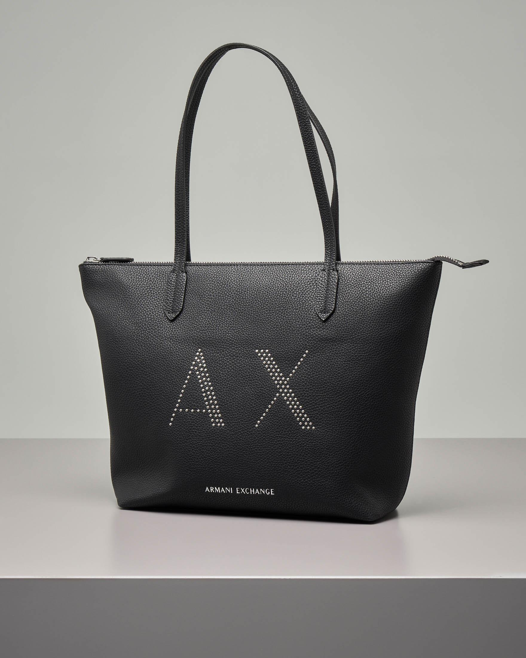 Shopping bag in ecopelle nera con scritta logo con micro borchie