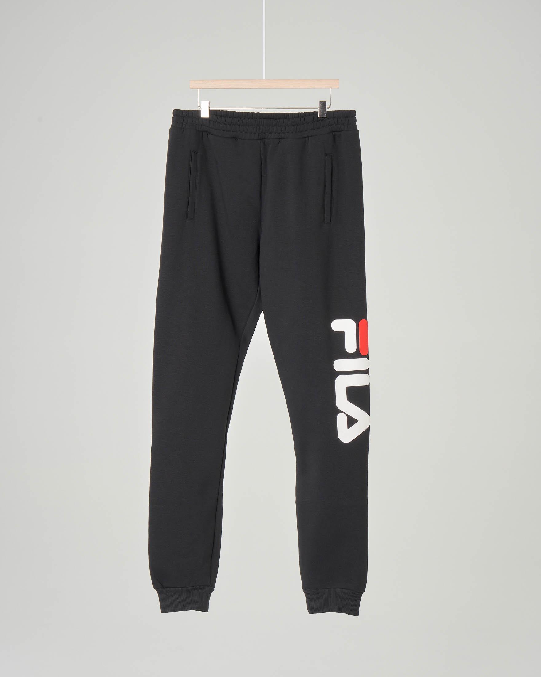 Pantalone nero in felpa con logo Fila sulla gamba 10-16 anni
