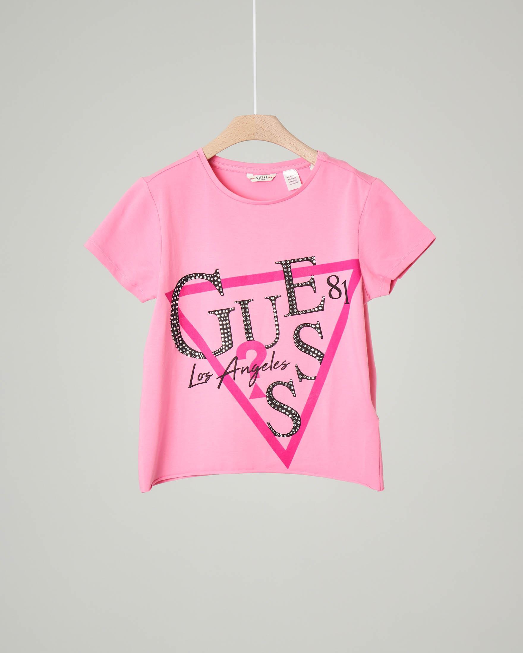 T-shirt mezza manica rosa con logo strass 8-14 anni.