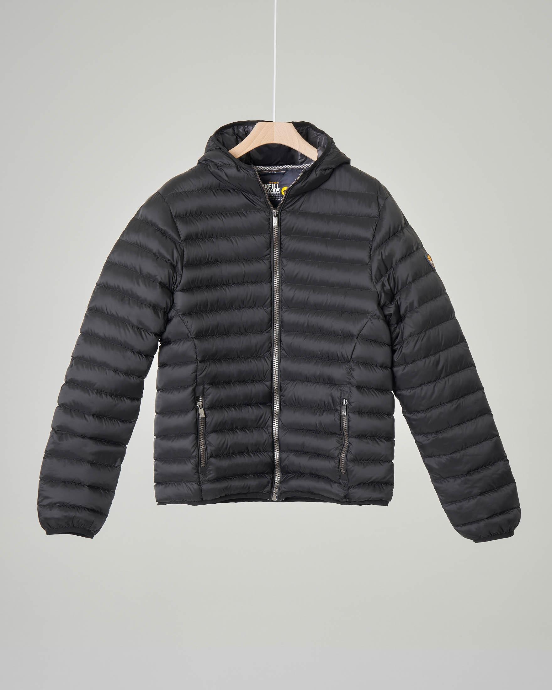 Piumino nero con cappuccio 10-16 anni