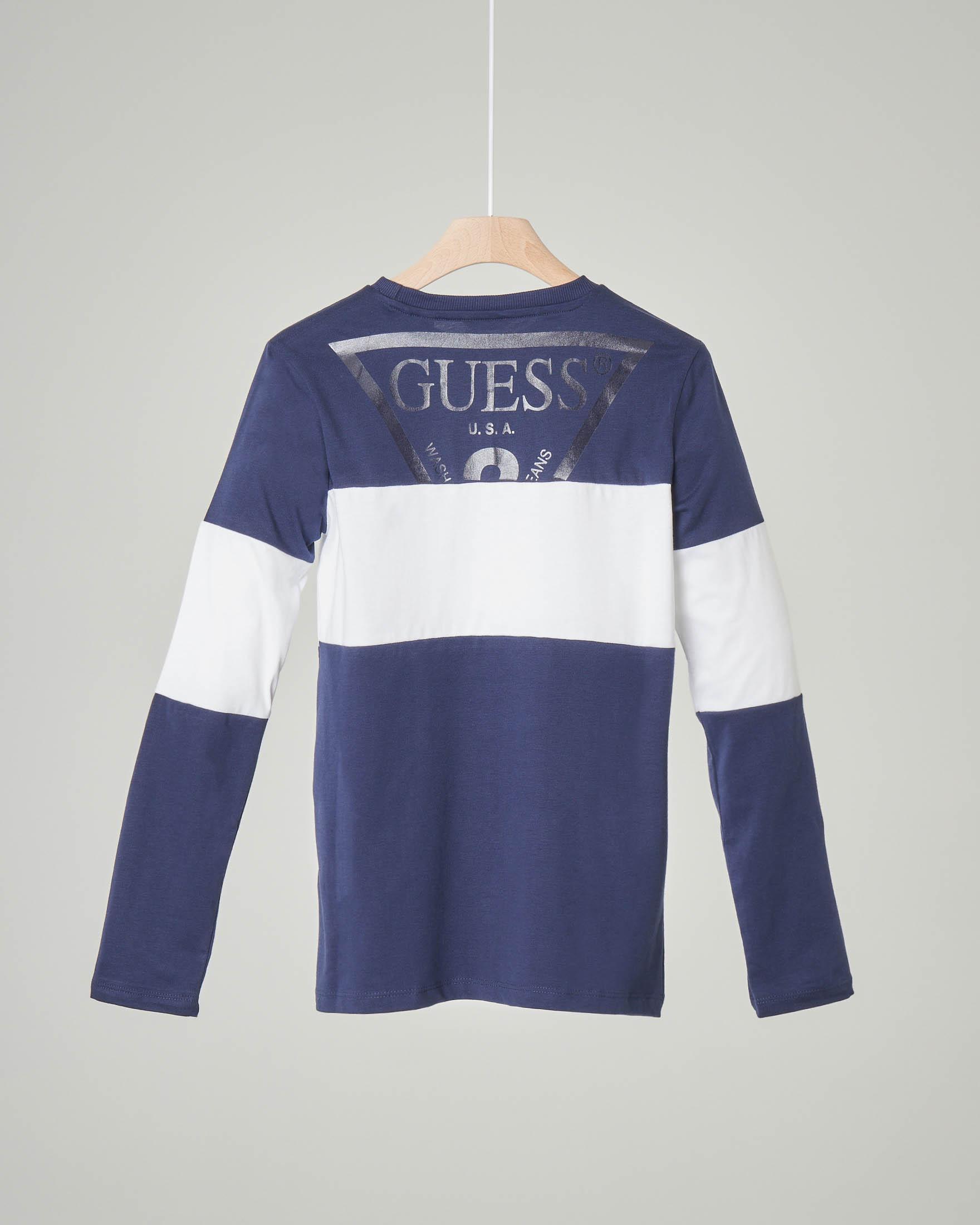 T-shirt manica lunga blu con fascia bianca e logo 8-10 anni