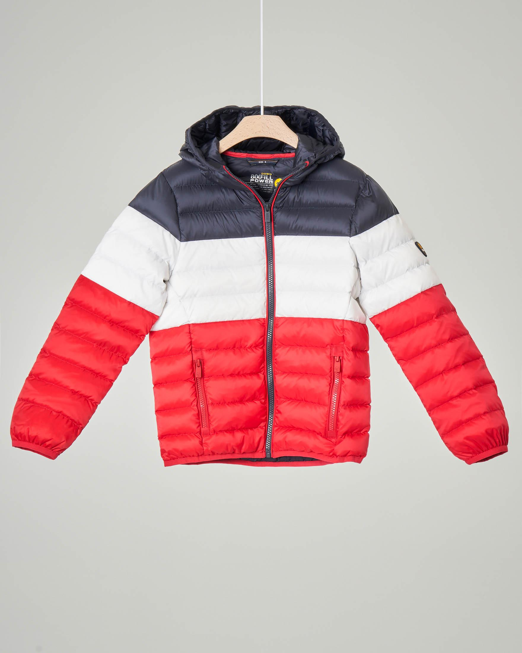 Piumino tricolore blu bianco e rosso con cappuccio 4-8 anni
