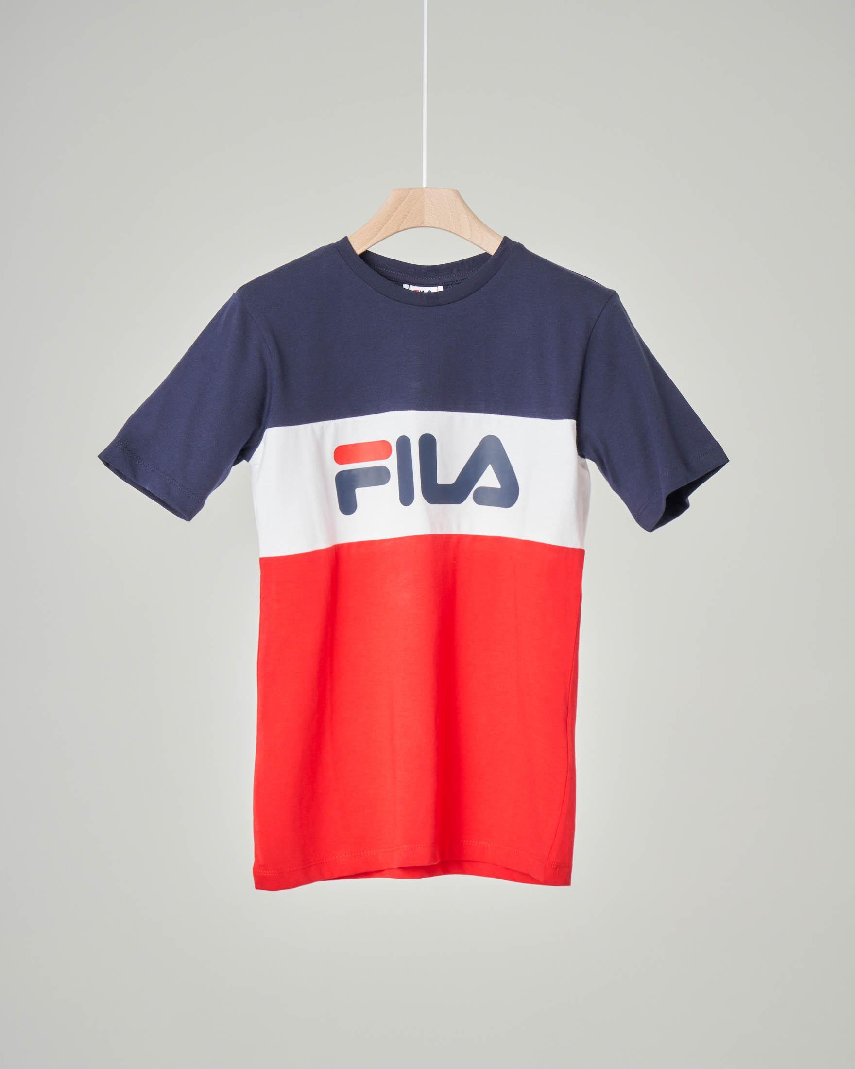 T-shirt mezza manica a tre colori con logo Fila 10-16 anni