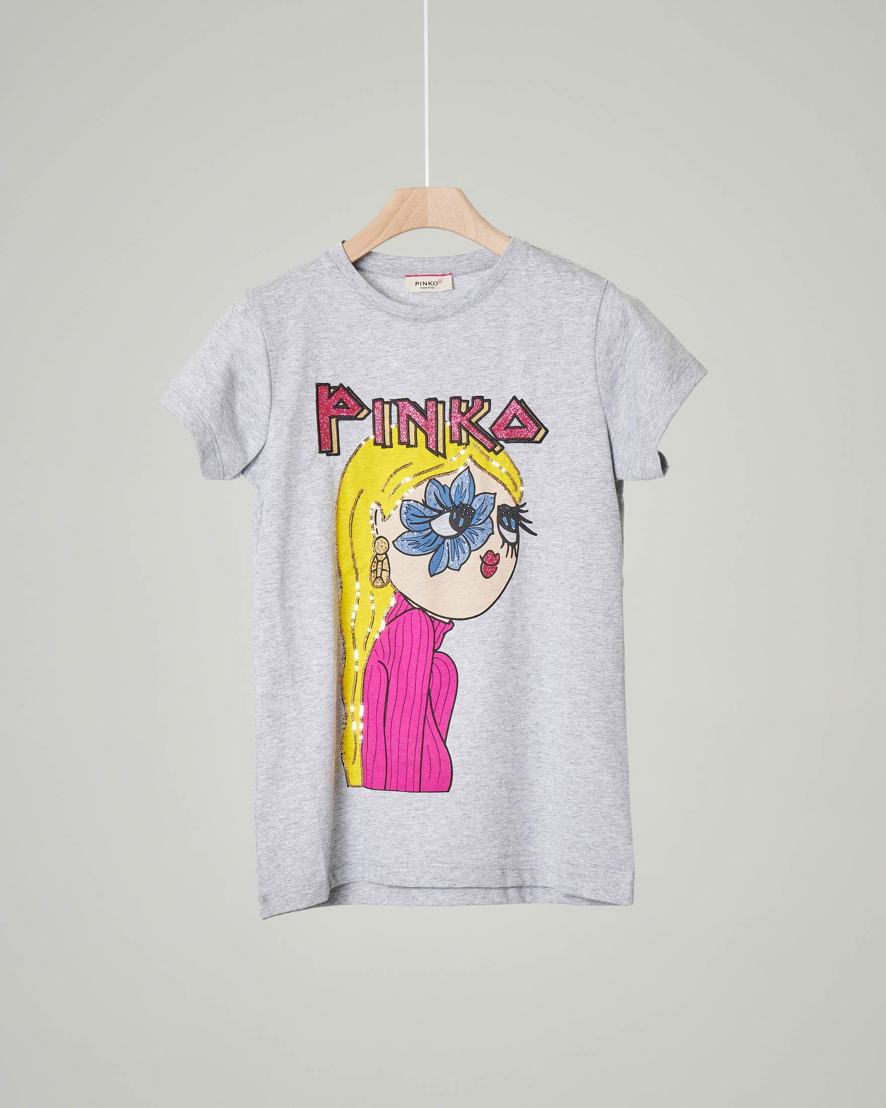 T-shirt mezza manica con stampa Pinko bionda S-XL