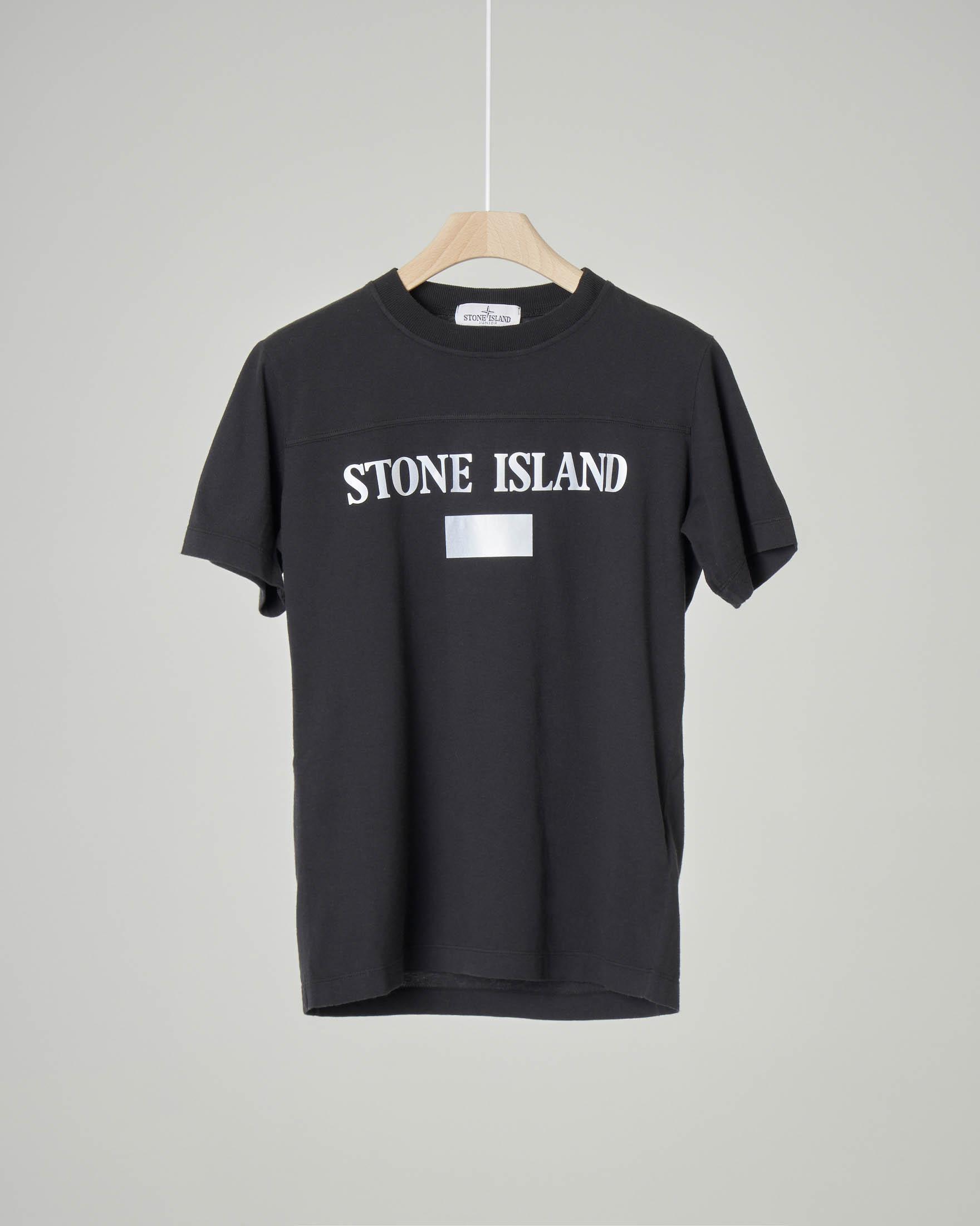 T-shirt nera mezza manica con logo reflect stampato 14 anni