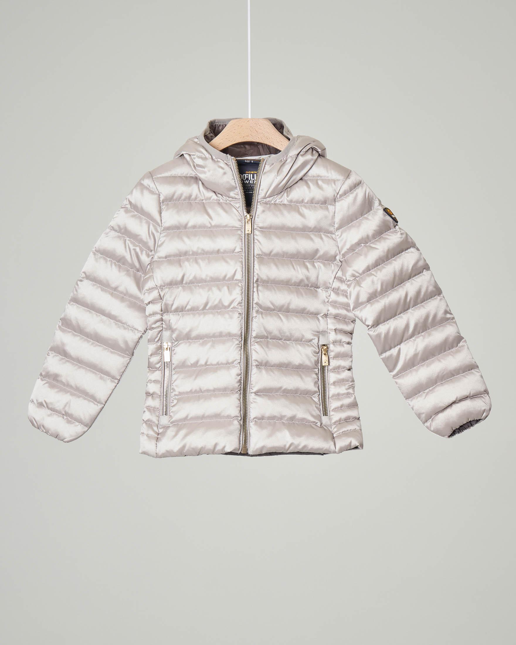 Piumino color argento con cappuccio 2-8 anni