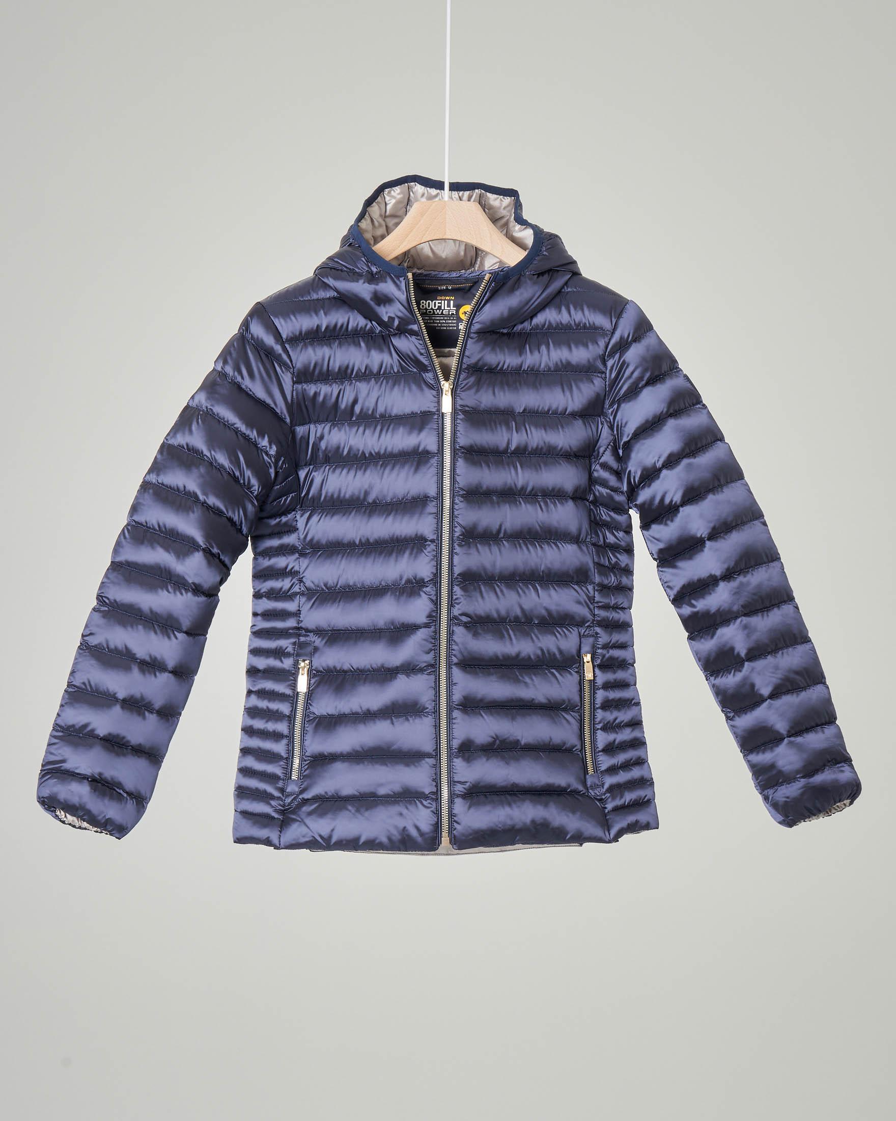 Piumino blu cangiante con cappuccio 4-8 anni