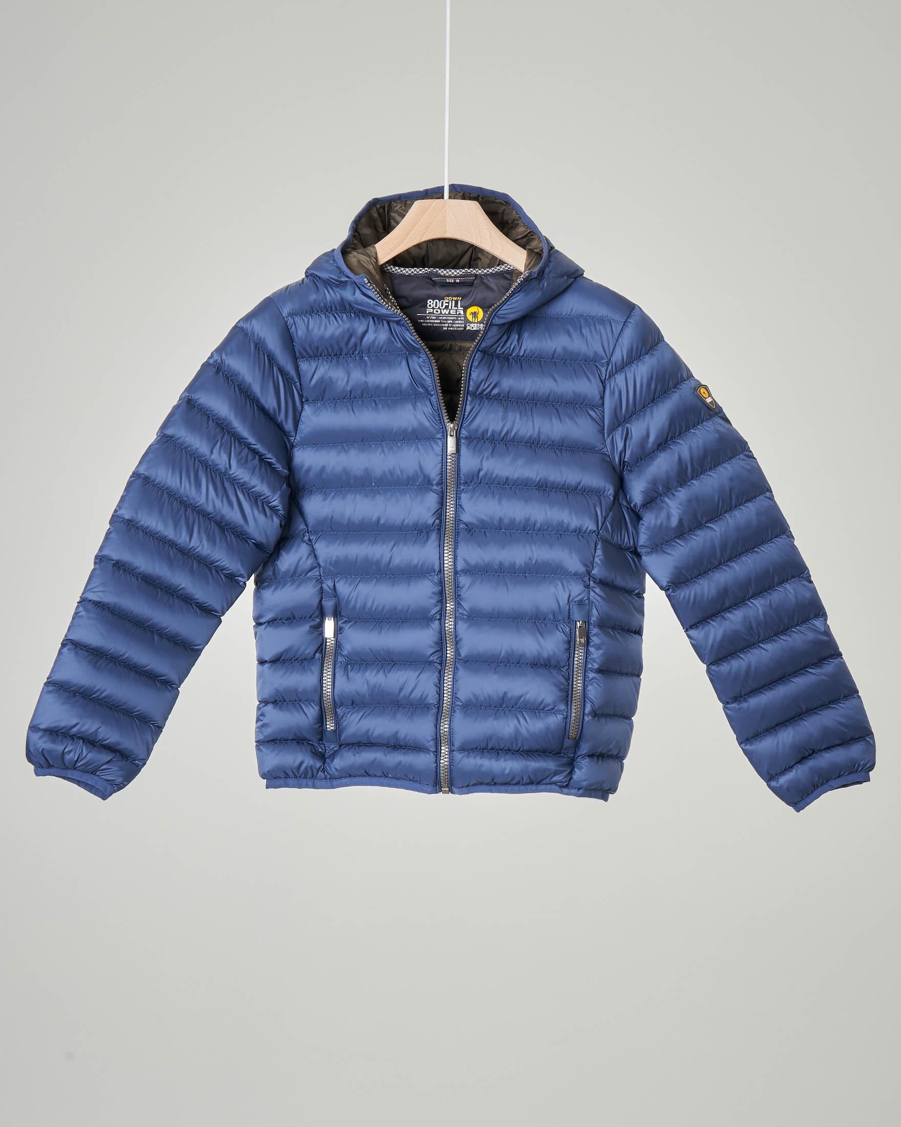 Piumino blu indigo con cappuccio 10-16 anni