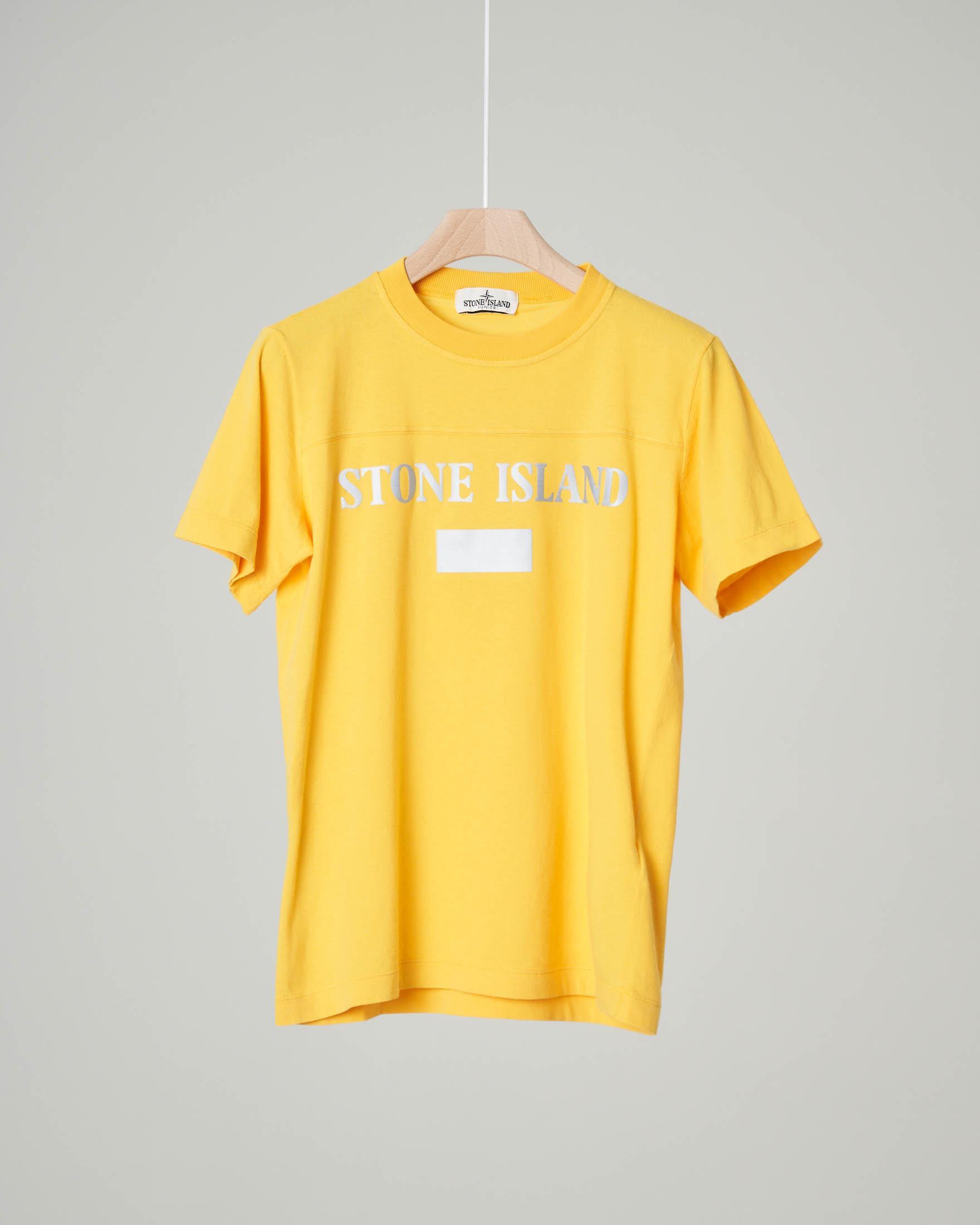 T-shirt gialla mezza manica con logo reflect stampato 8 anni