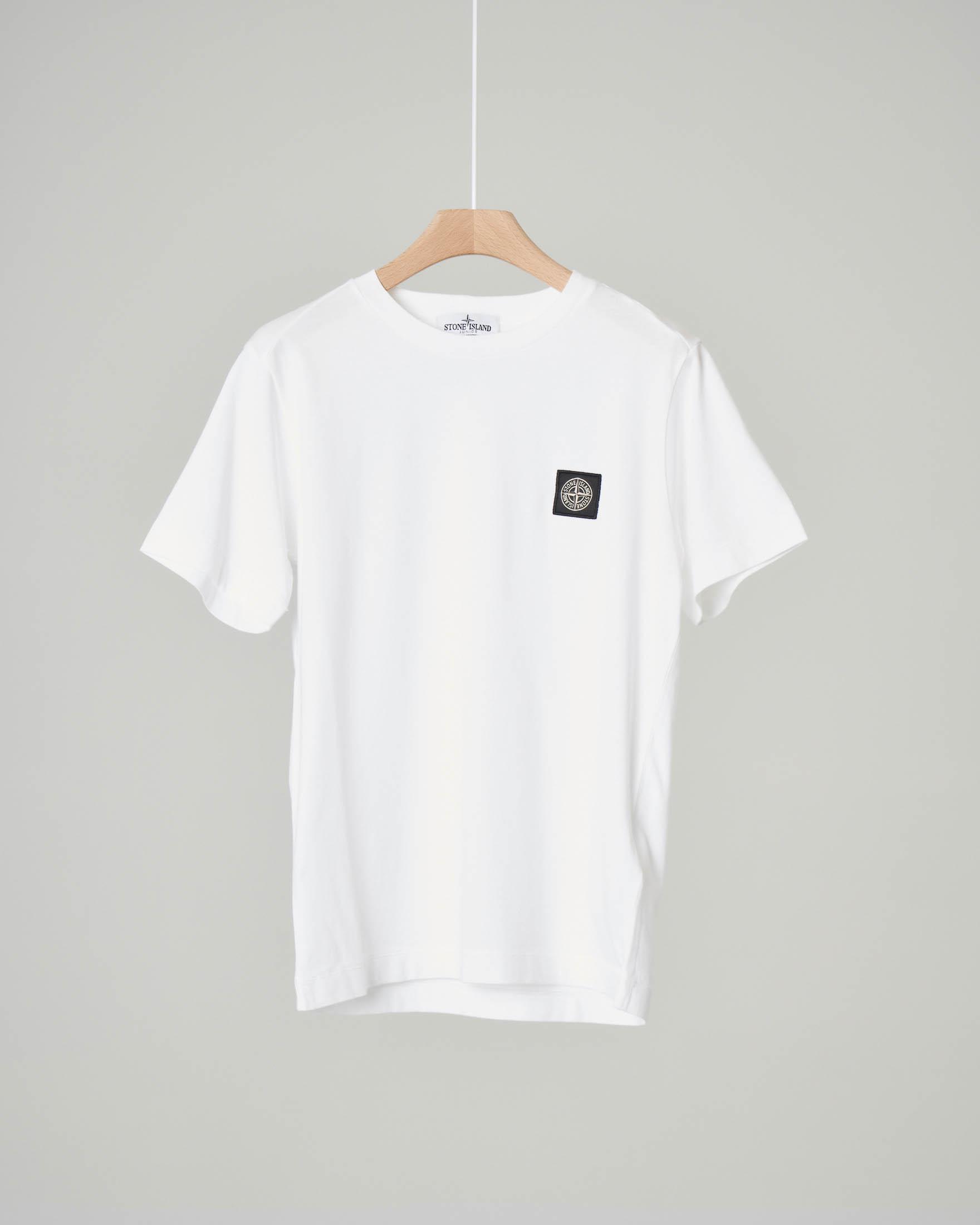 T-shirt bianca mezza manica con logo patch rosa dei venti applicato 10-12 anni