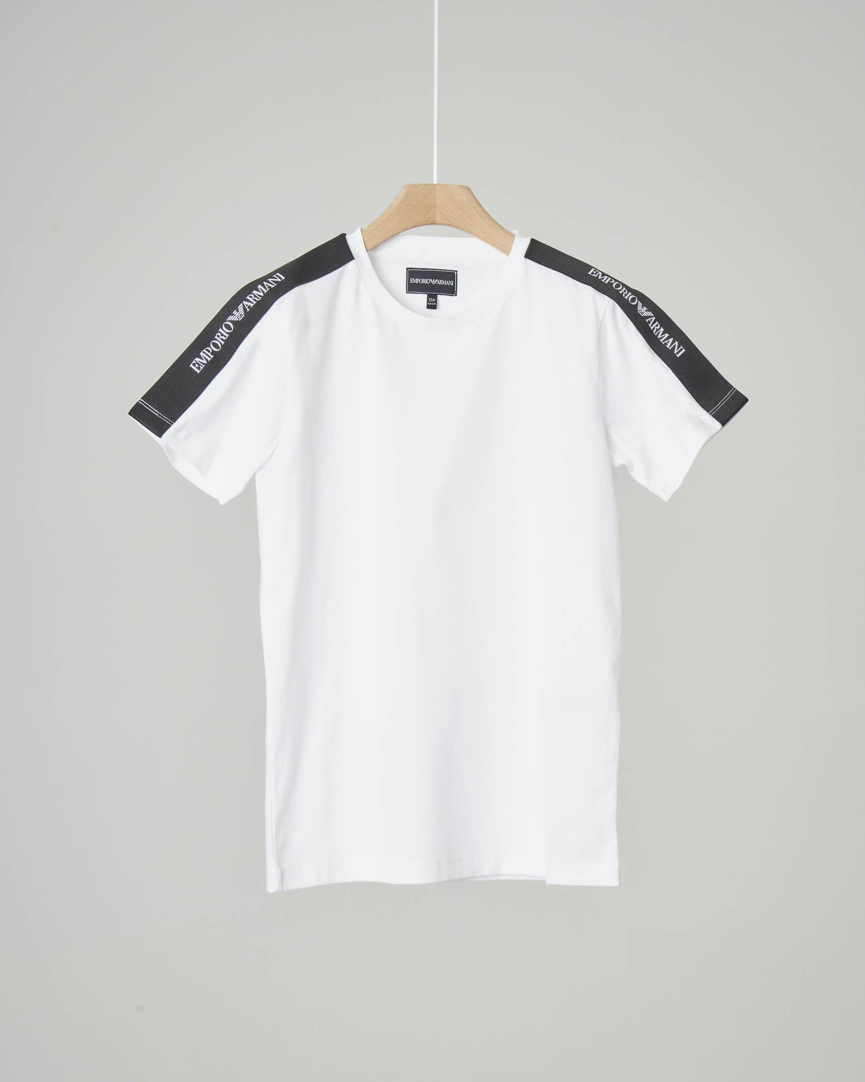 T-shirt bianca con banda logata nera sulle spalle 10-16 anni
