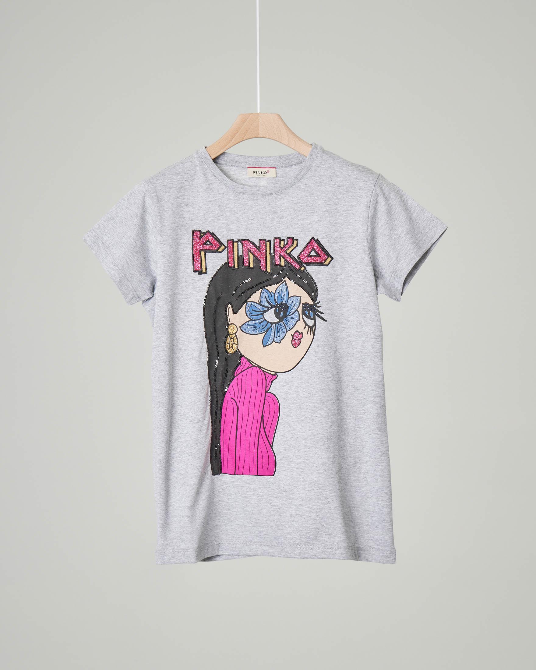 T-shirt mezza manica con stampa Pinko mora S-XL