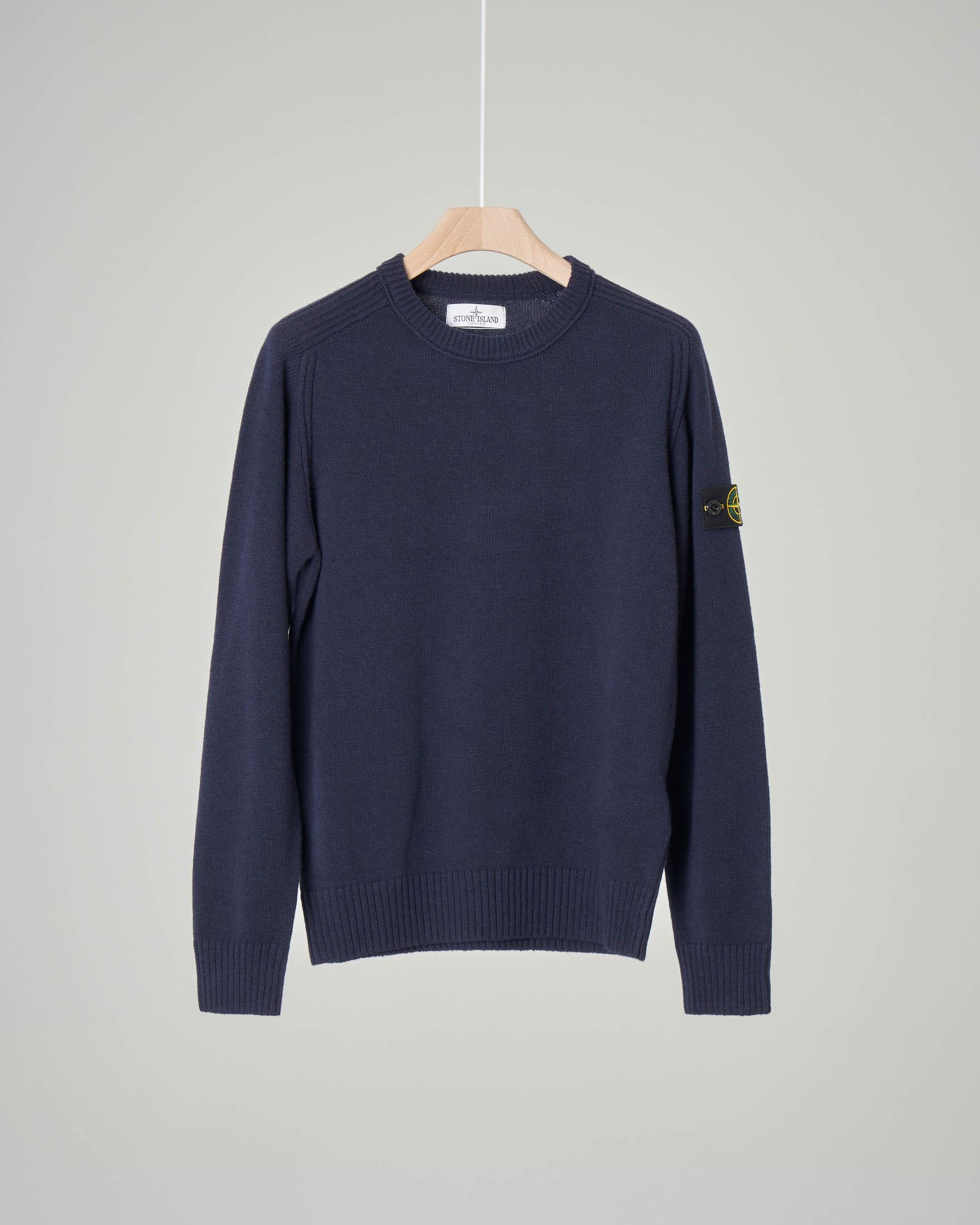 Maglia blu girocollo in misto lana e cachemire 10-12 anni