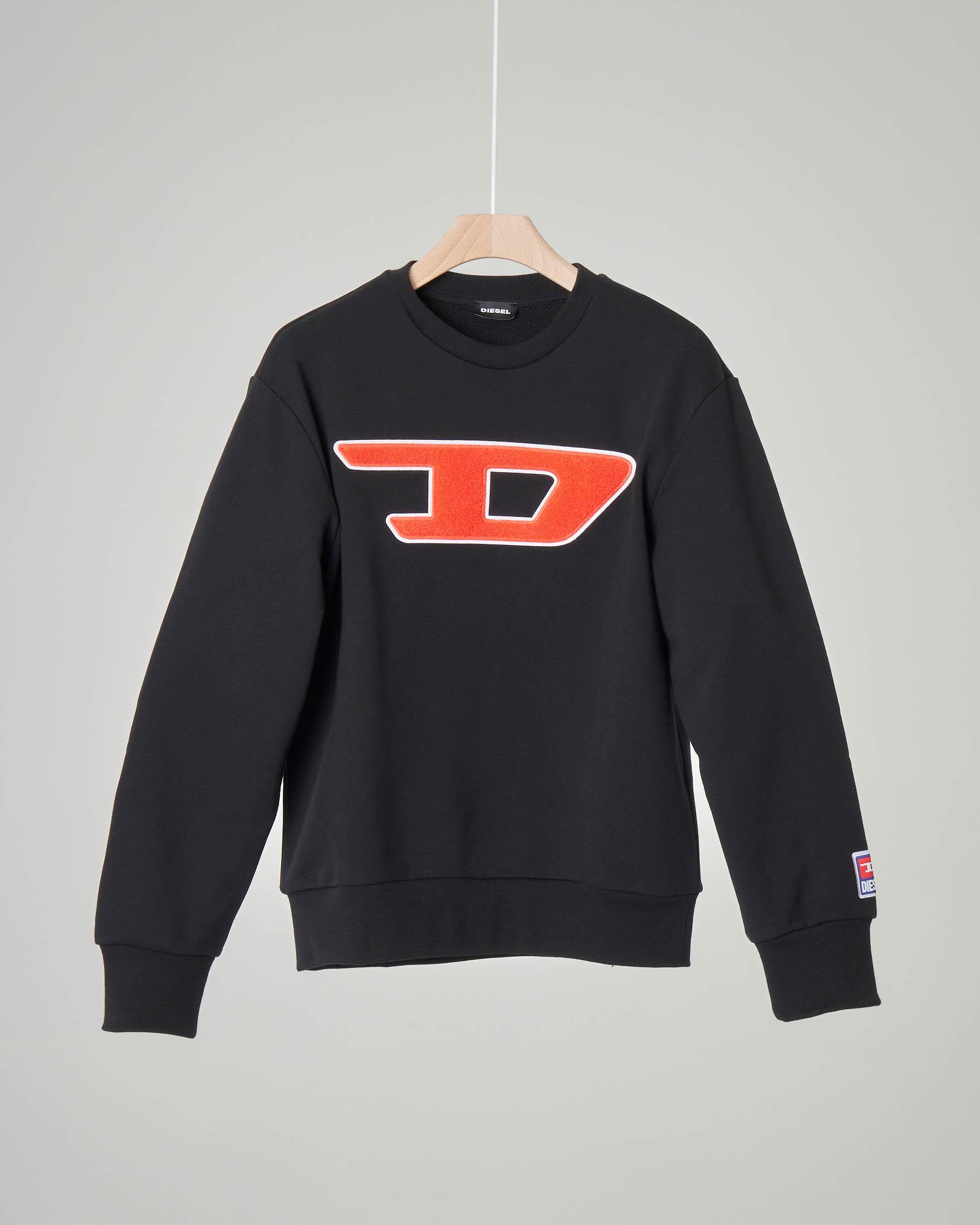 Felpa nera girocollo con logo D in spugna 10-16 anni