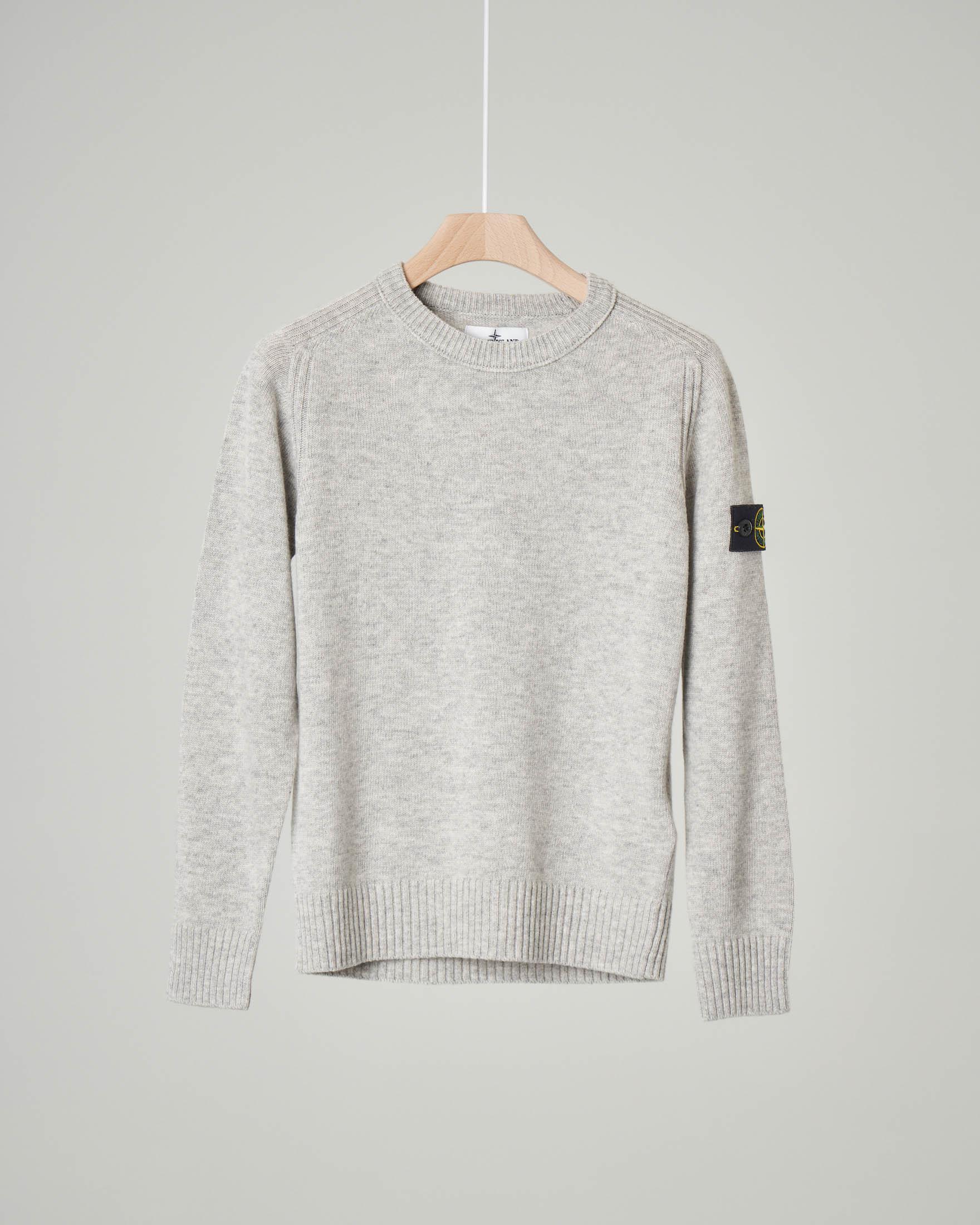 Maglia grigio melange girocollo in misto lana e cachemire 8 anni