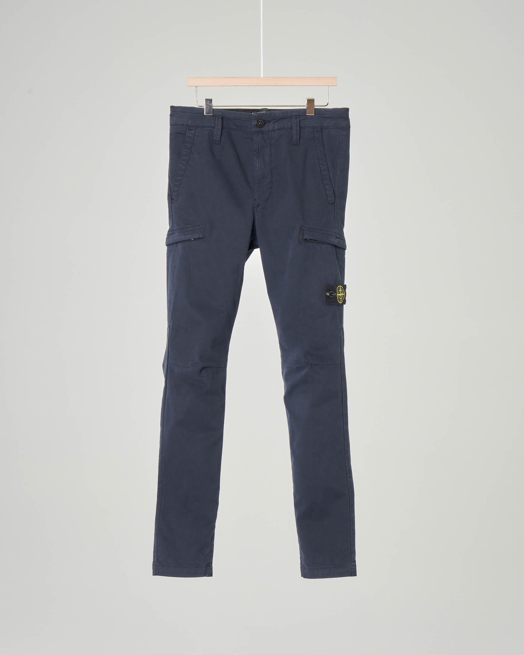 Pantalone blu cargo in cotone stretch 14 anni