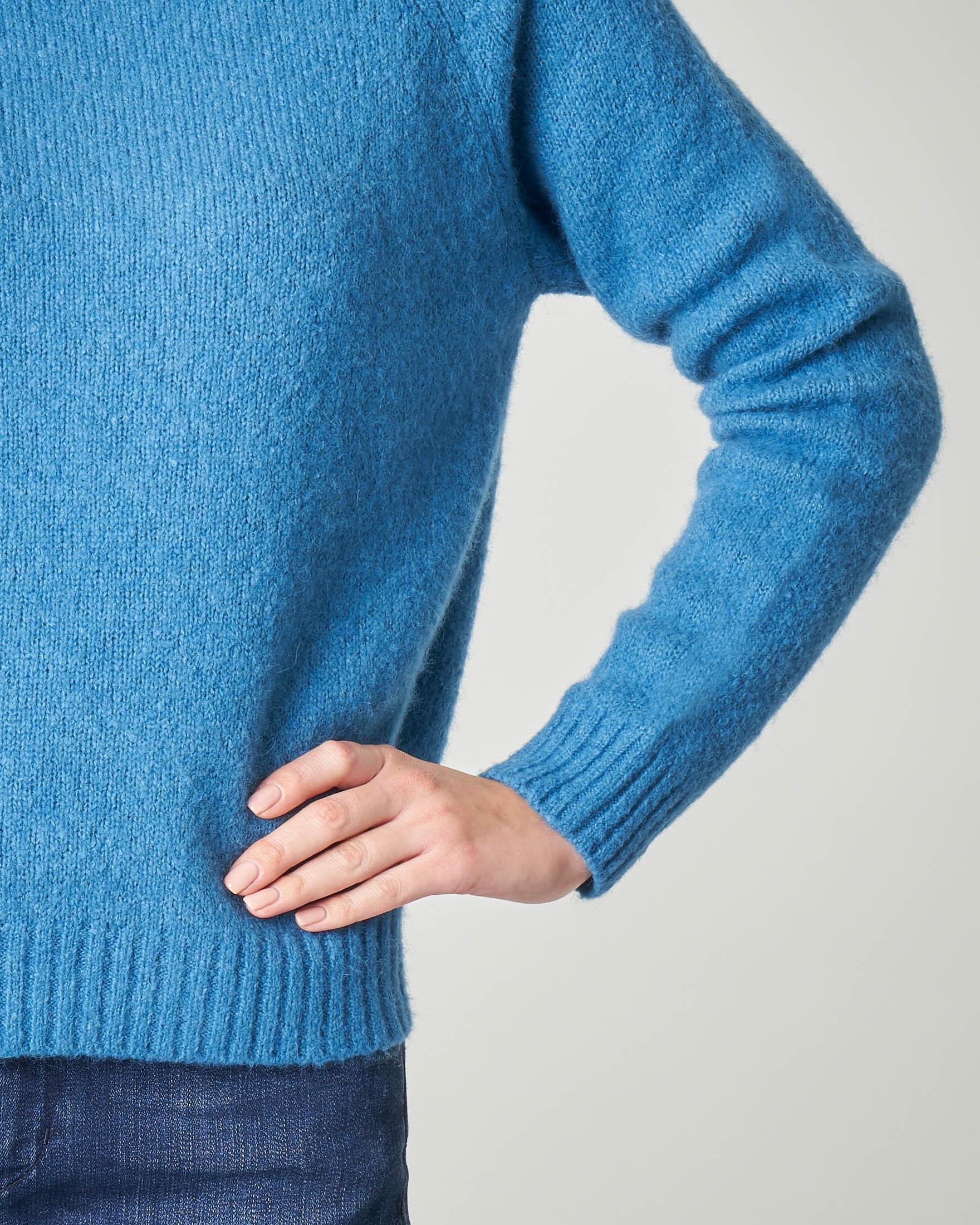 Maglia girocollo color avio in maglia rasata misto alpaca