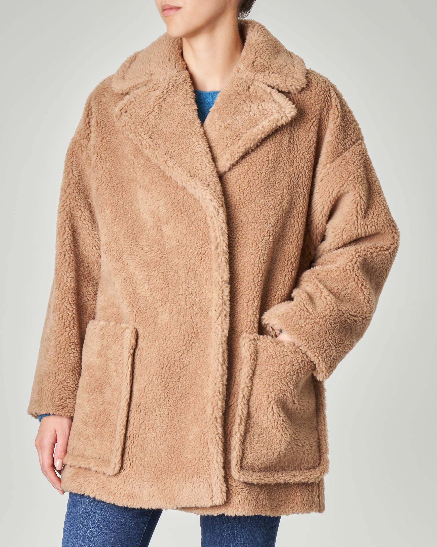 Cappotto Teddy in misto lana cammello