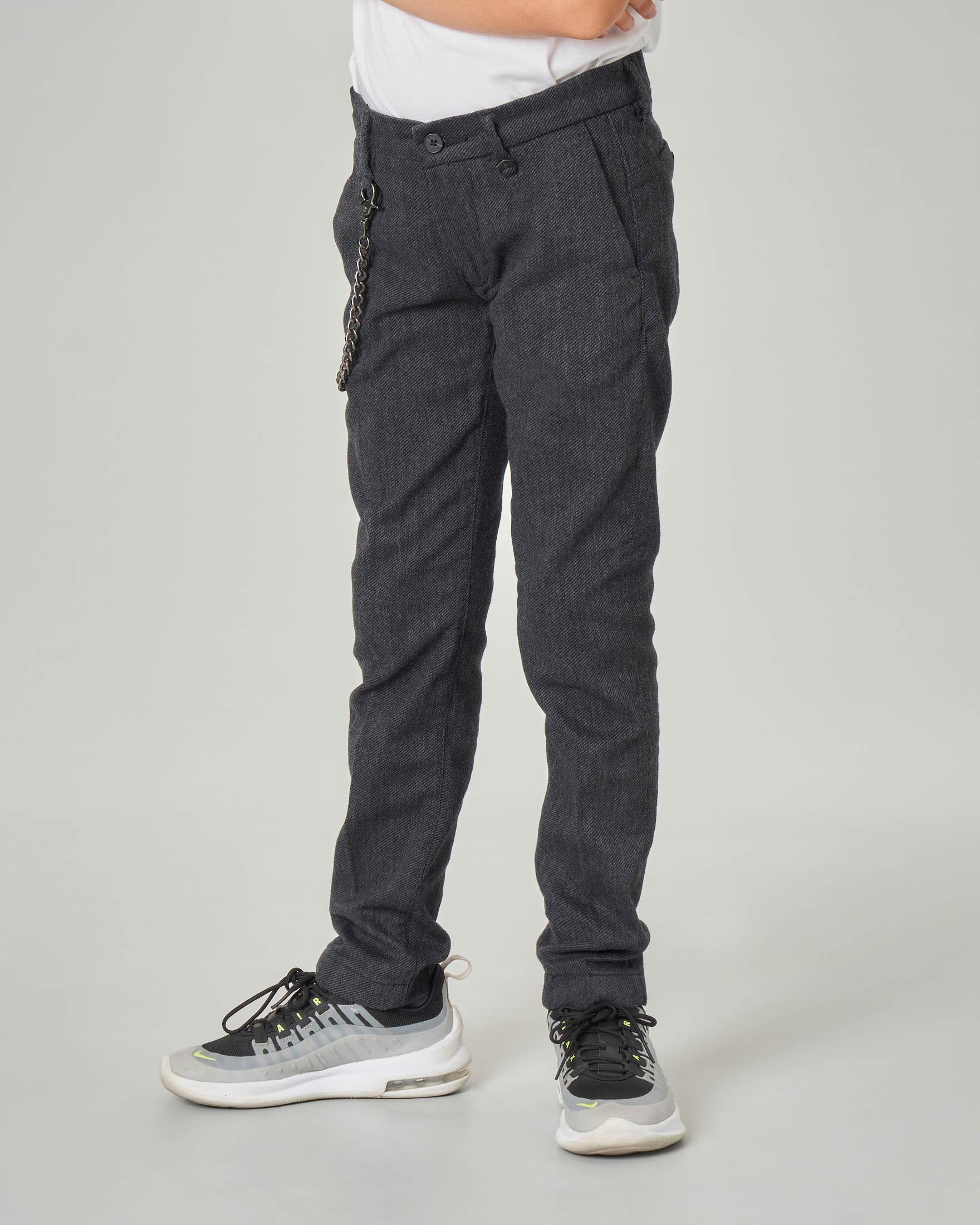 Pantalone grigio antracite con catena applicata in tessuto diagonale 10-14 anni