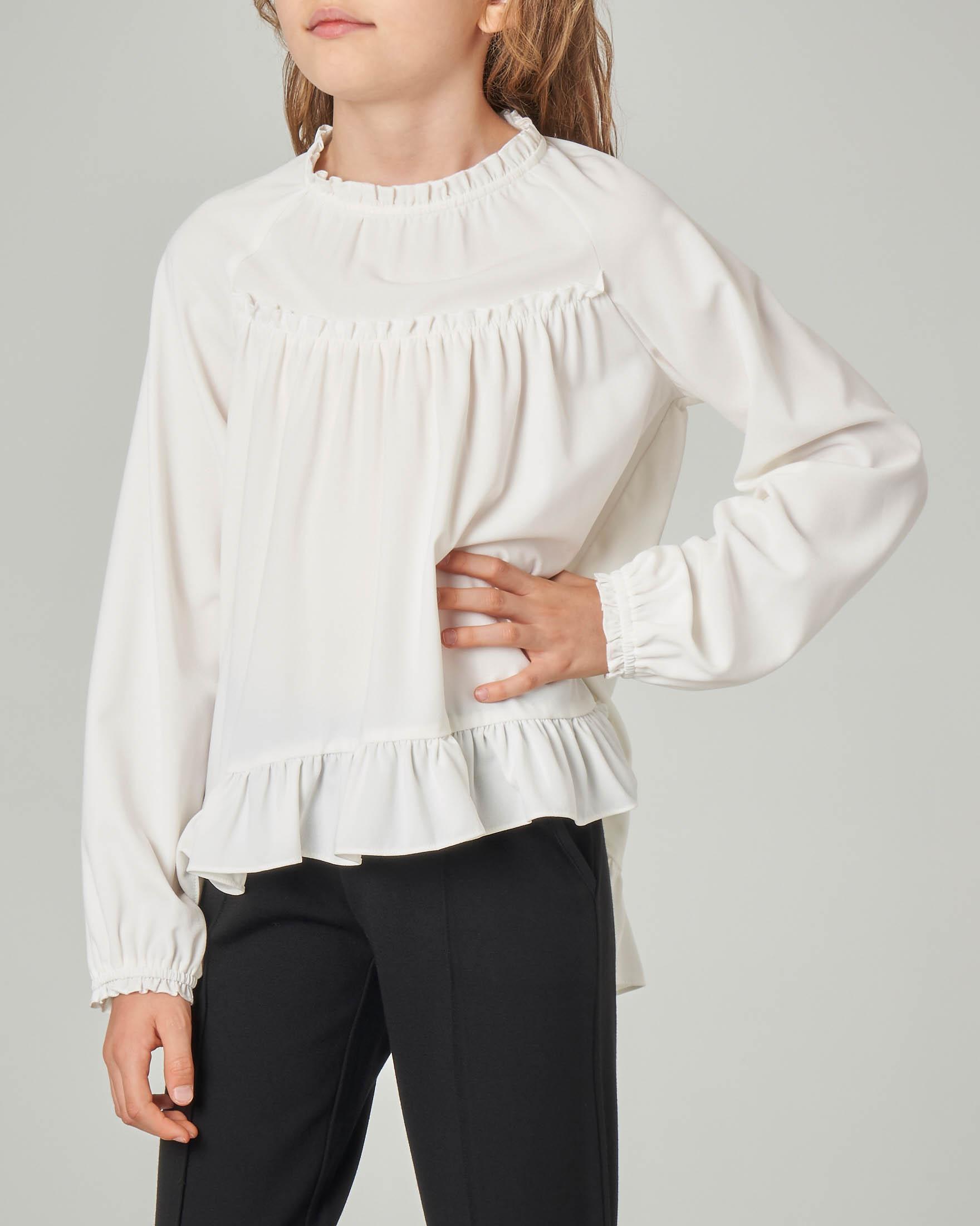 Camicia bianca in georgette con rouche e balza sul fondo S-XL