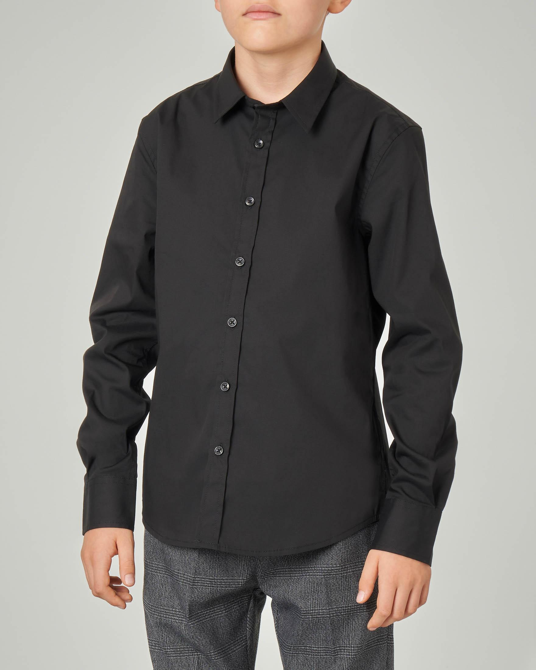 Camicia nera in cotone stretch 8-16 anni